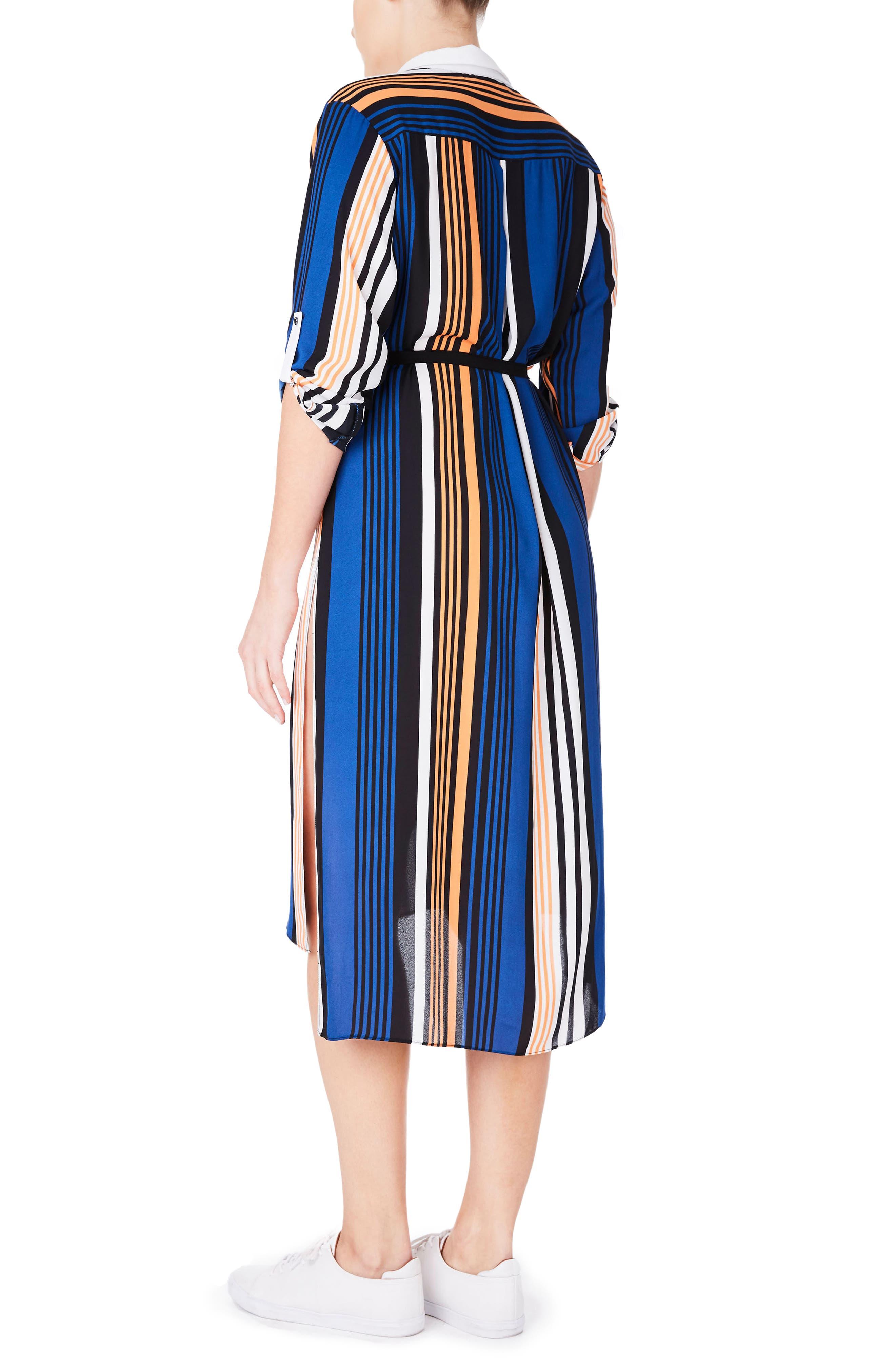 Stripe Roll Sleeve Shirtdress,                             Alternate thumbnail 2, color,                             Blue