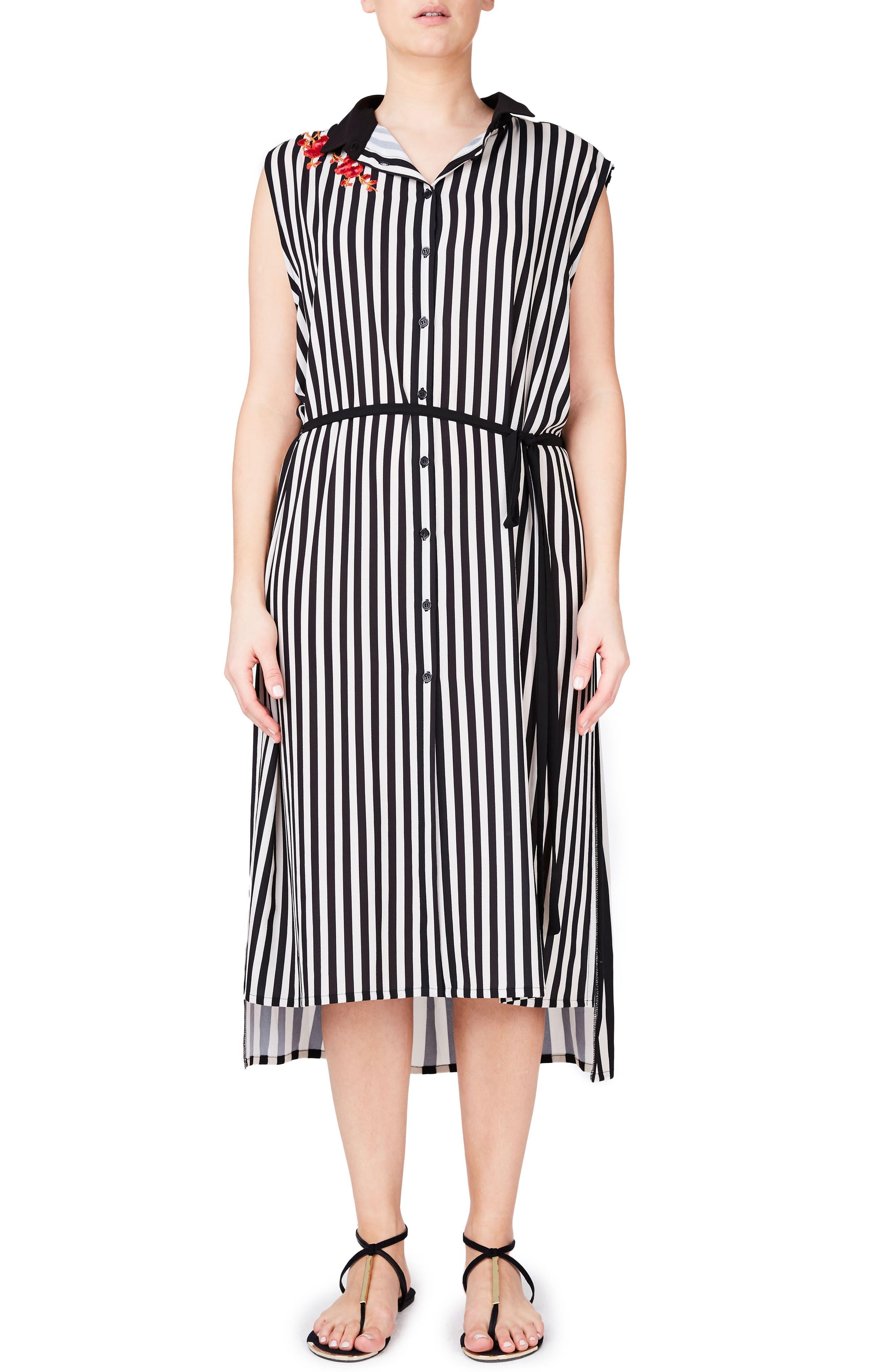 ELVI Stripe Shirtdress (Plus Size)