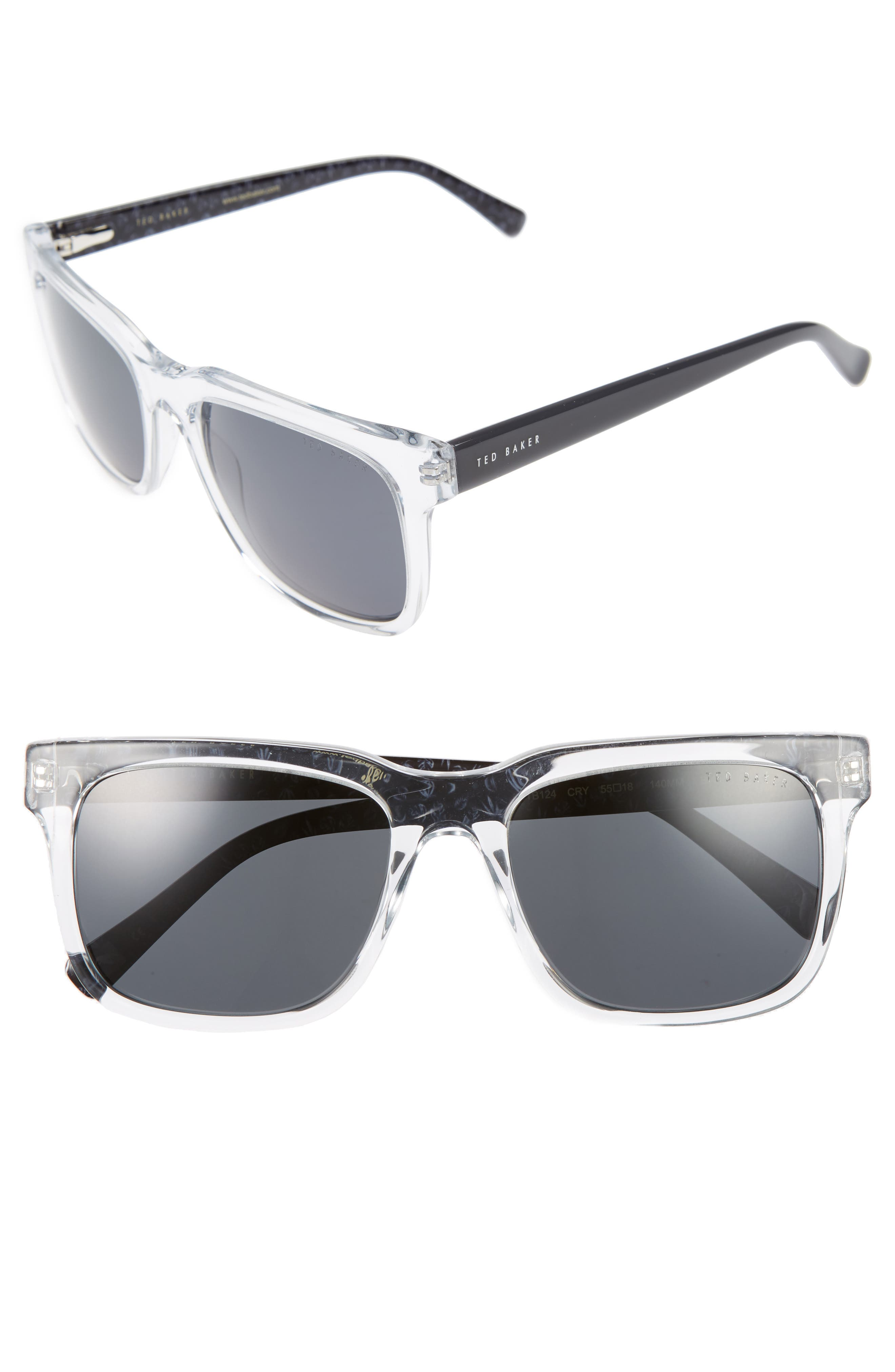 55mm Polarized Sunglasses,                             Main thumbnail 1, color,                             Crystal