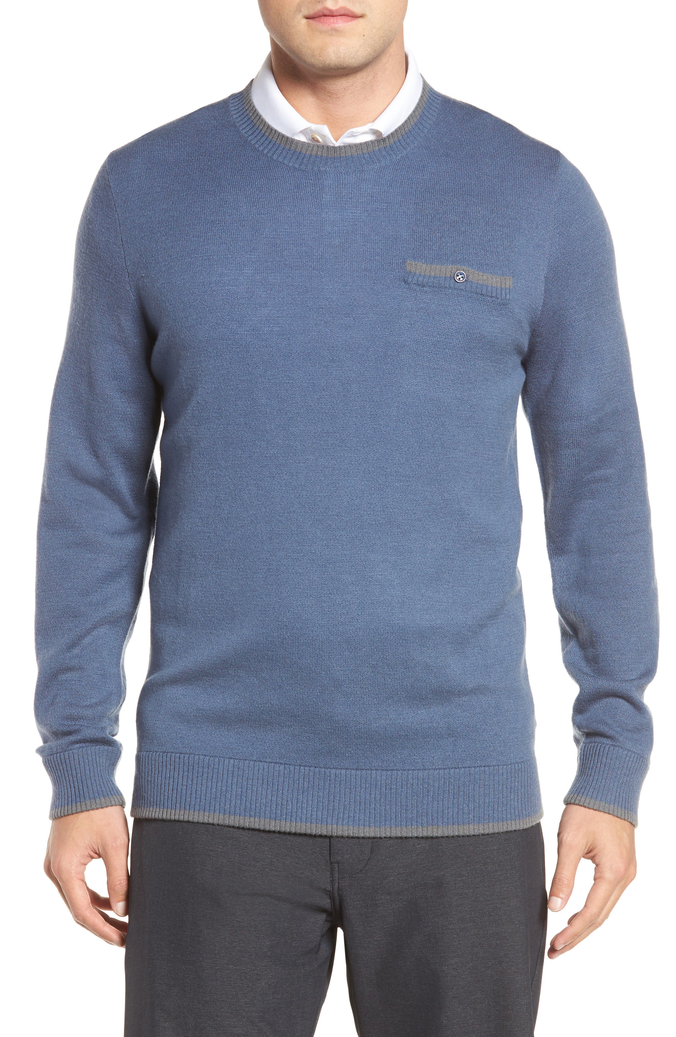 Paglia Wool Blend Sweater,                             Main thumbnail 1, color,                             Vintage Indigo