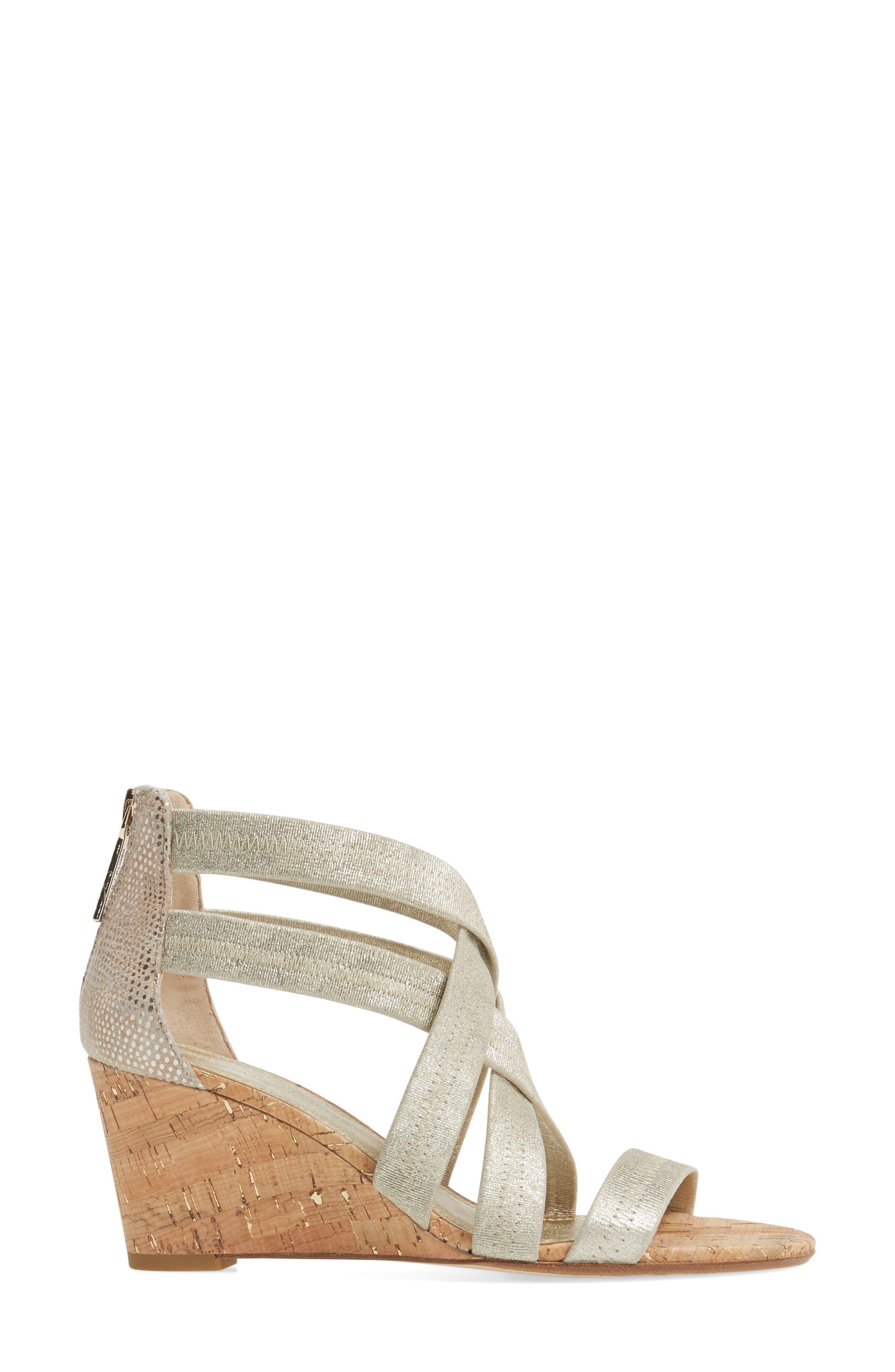 Donald J Pliner Jemi Wedge Sandal,                             Alternate thumbnail 3, color,                             Platino Leather