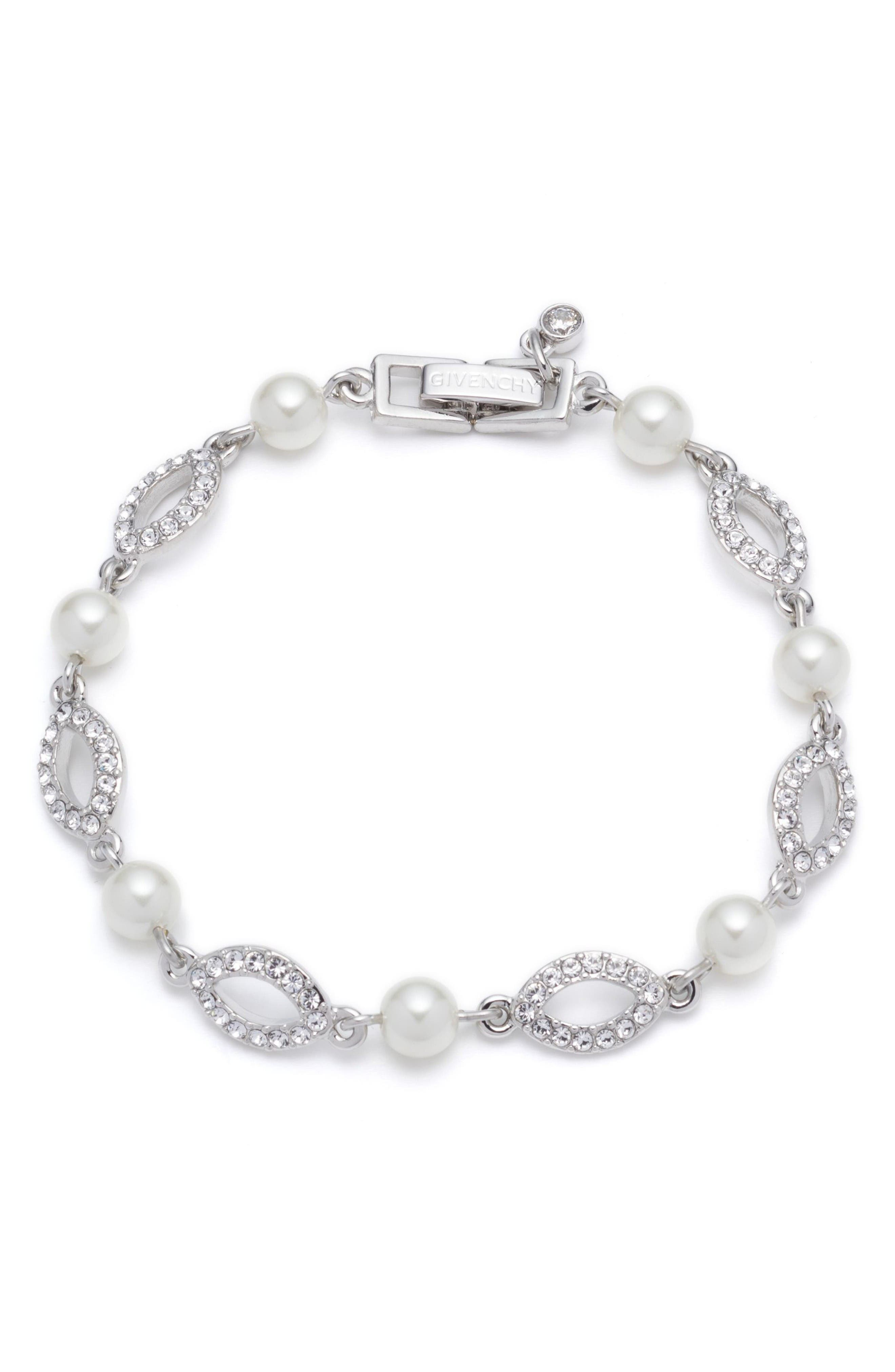 Imitation Pearl & Crystal Line Bracelet,                             Main thumbnail 1, color,                             Silver / White