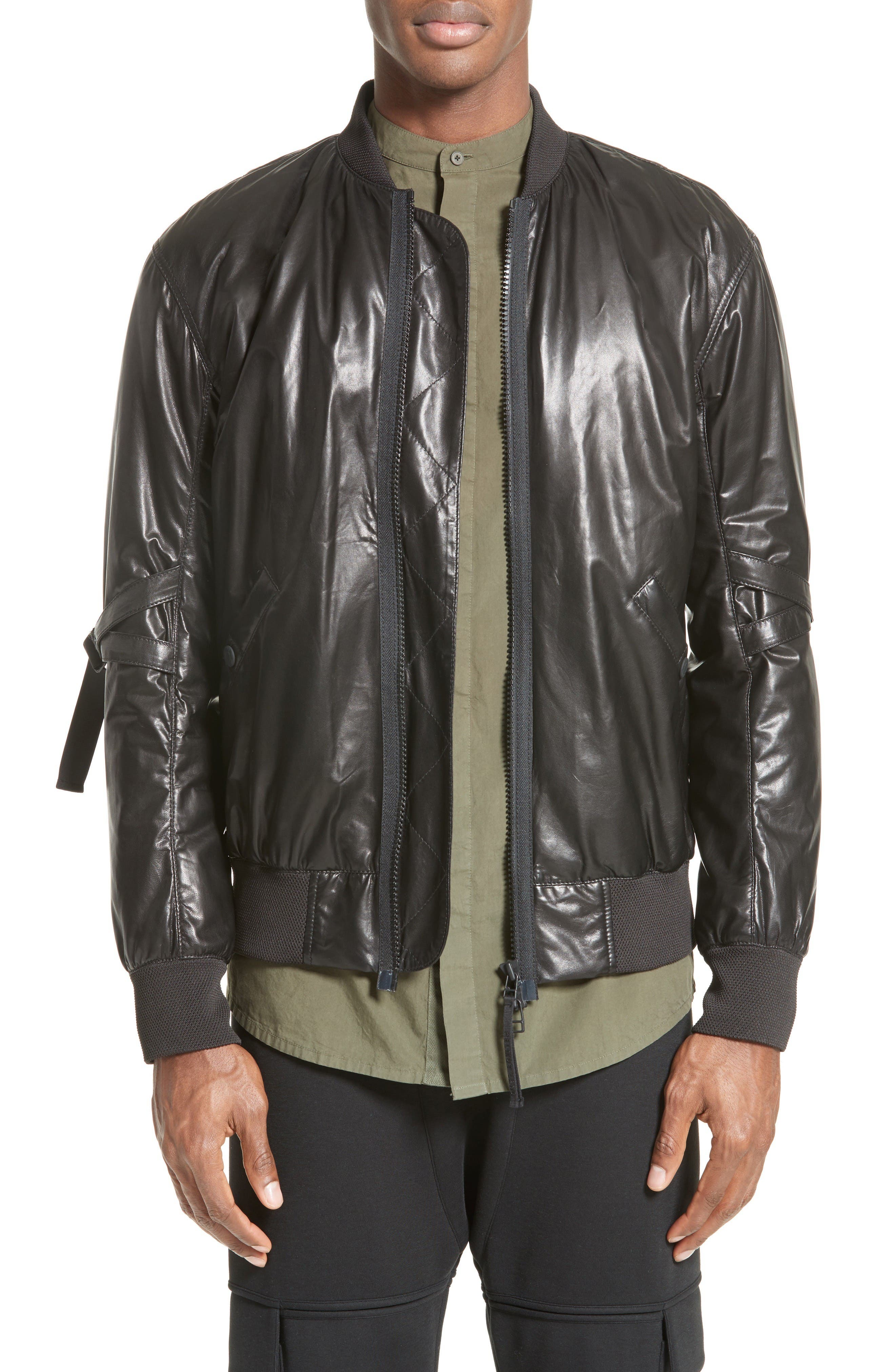 Alternate Image 1 Selected - Helmut Lang Leather Bomber Jacket