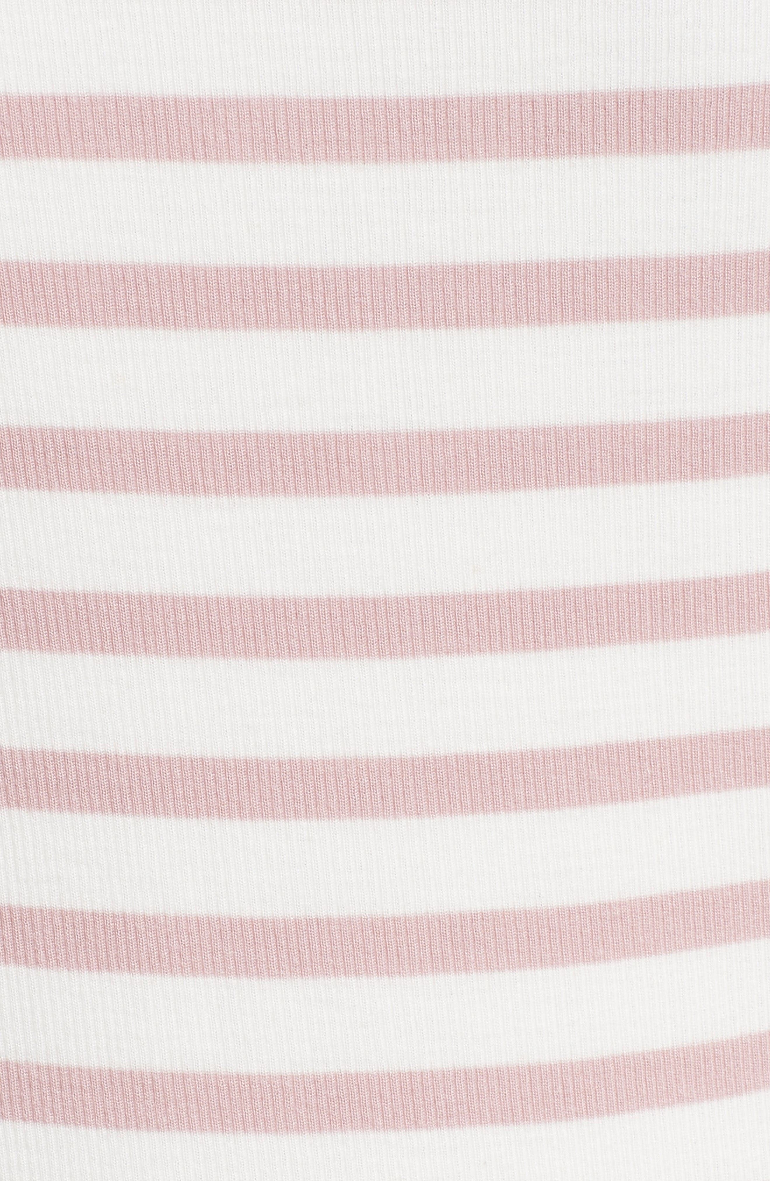 Off the Shoulder Rib Dress,                             Alternate thumbnail 6, color,                             Nutmeg/ Chalk Stripe
