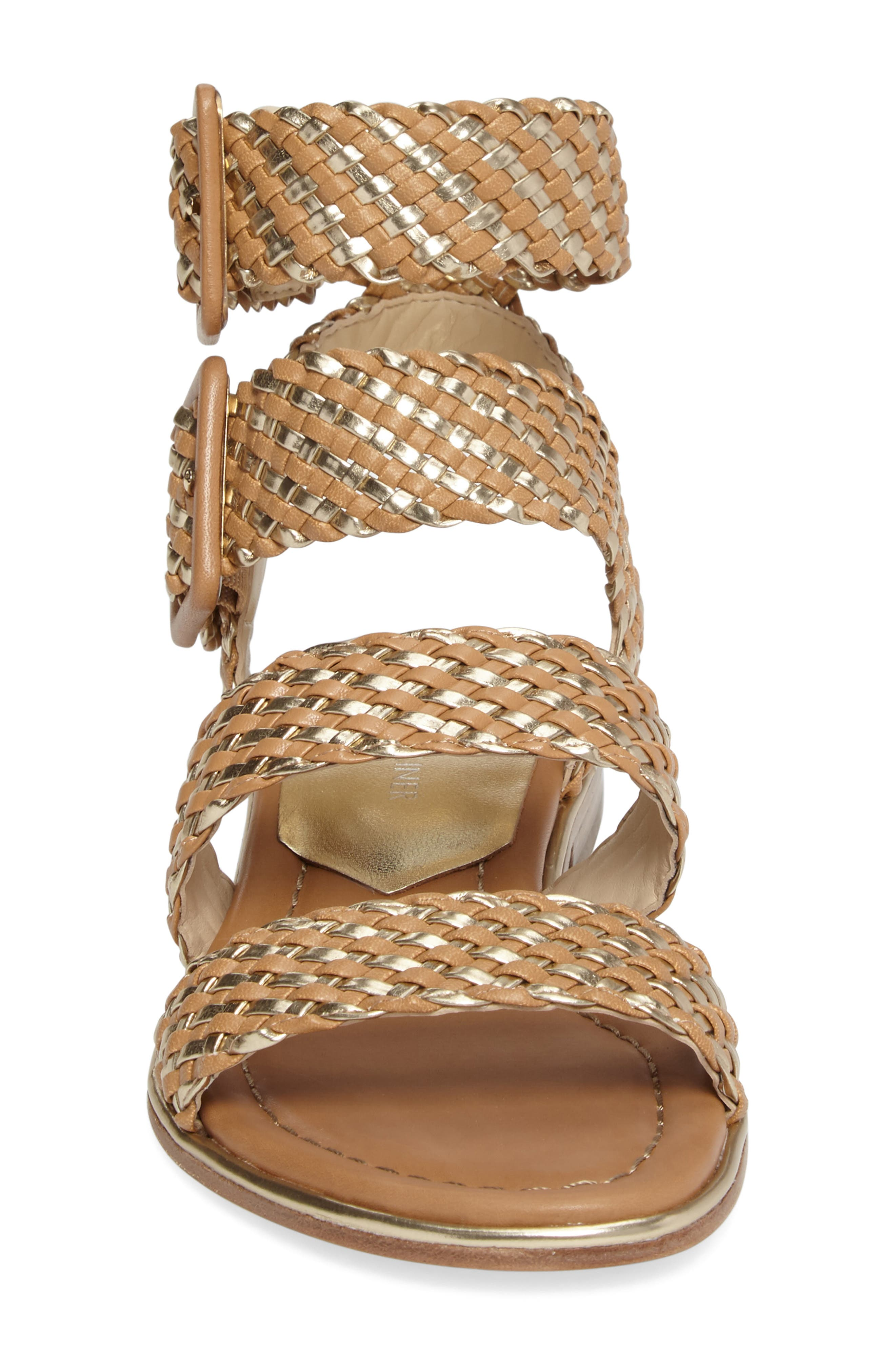 Donald J Pliner Lucia Braided Sandal,                             Alternate thumbnail 4, color,                             Sand/ Platino Faux Leather