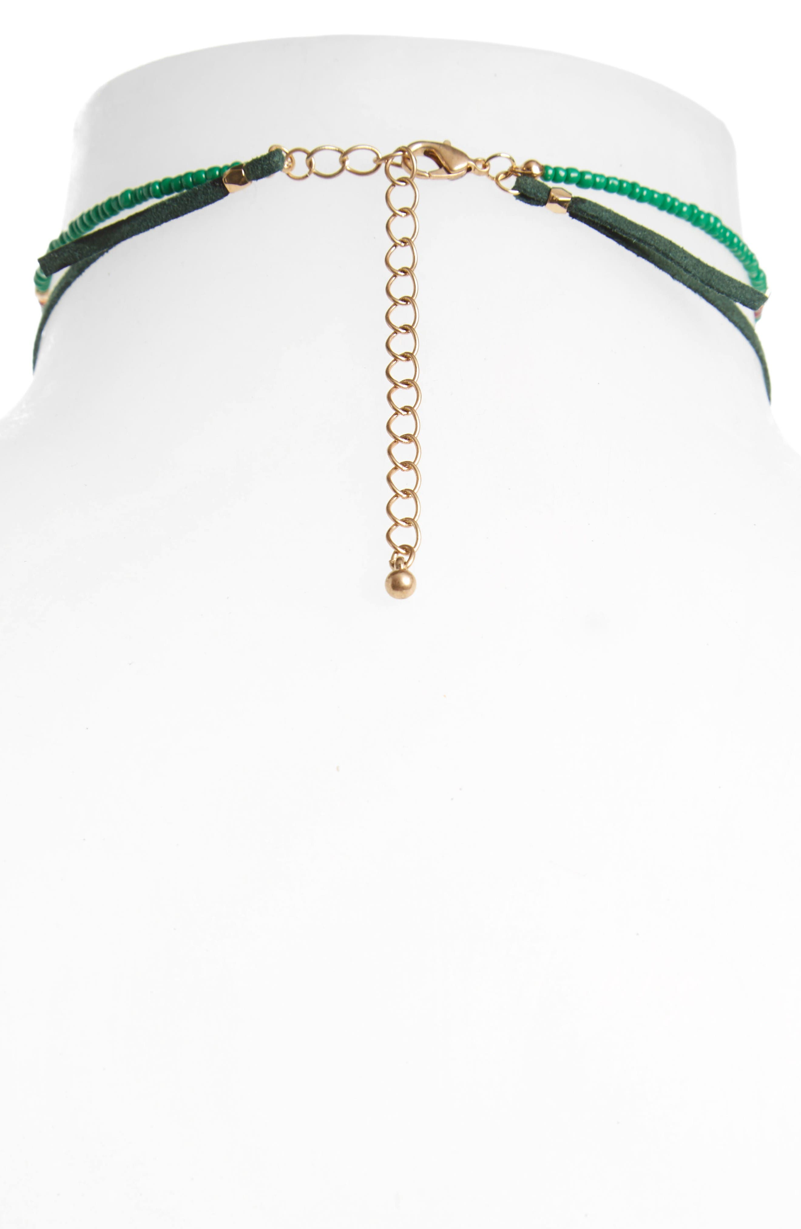 Leather Tie Choker Necklace,                             Alternate thumbnail 2, color,                             Mint- Gold- Dark Green