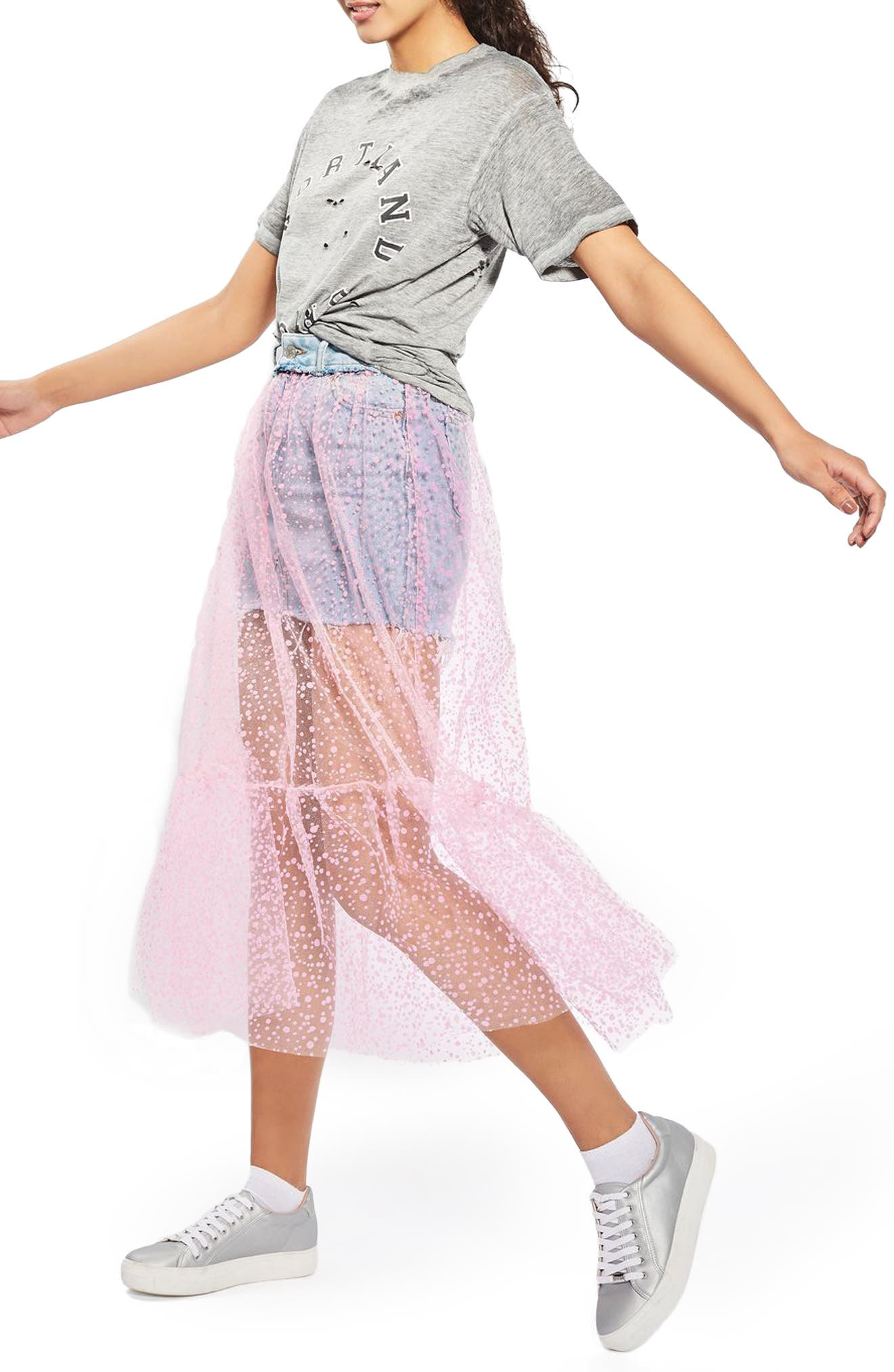 Alternate Image 1 Selected - Topshop Tulle Overlay Denim Skirt