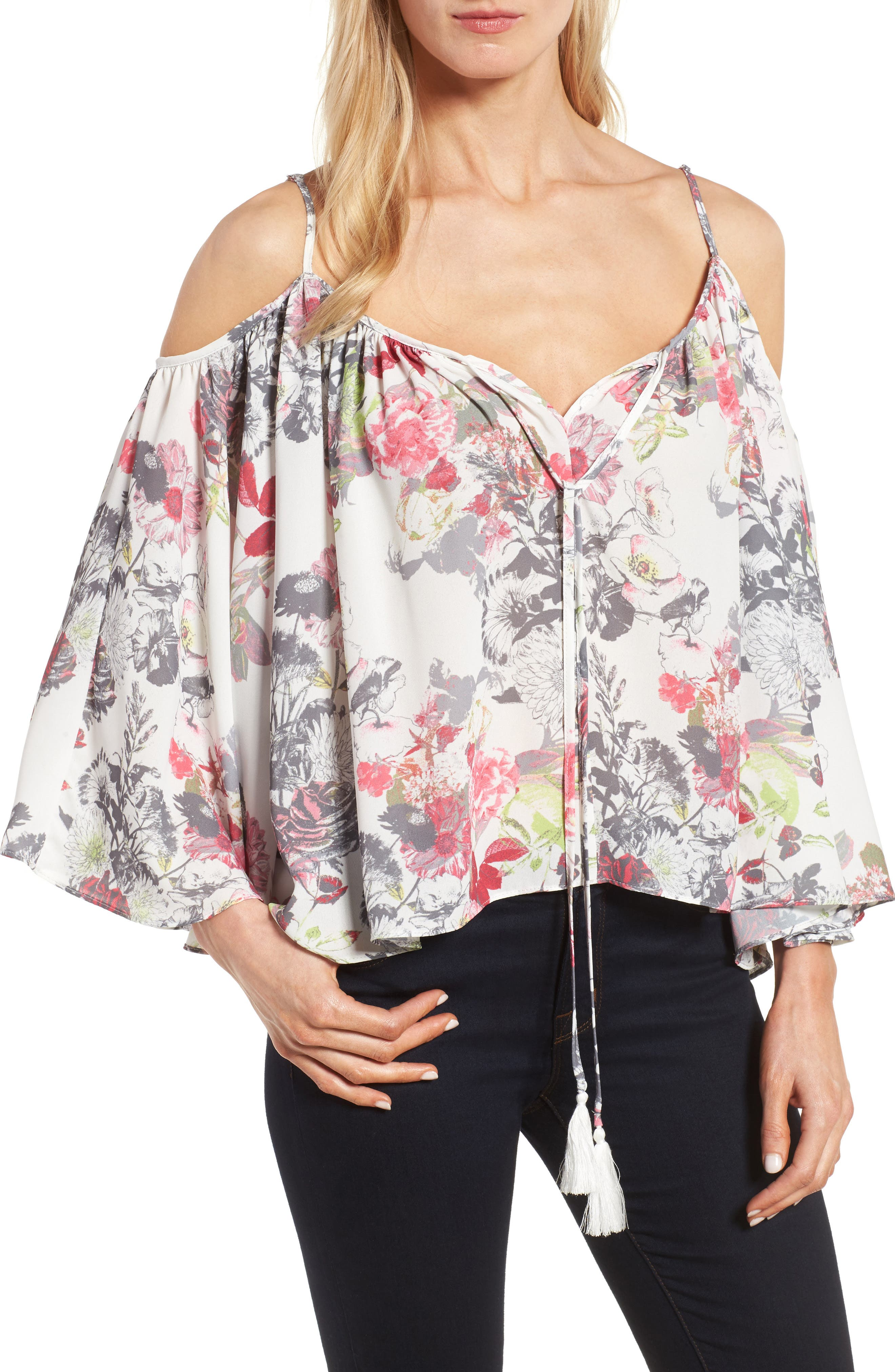 KUT from the Kloth Leonie Prairie Print Cold Shoulder Top