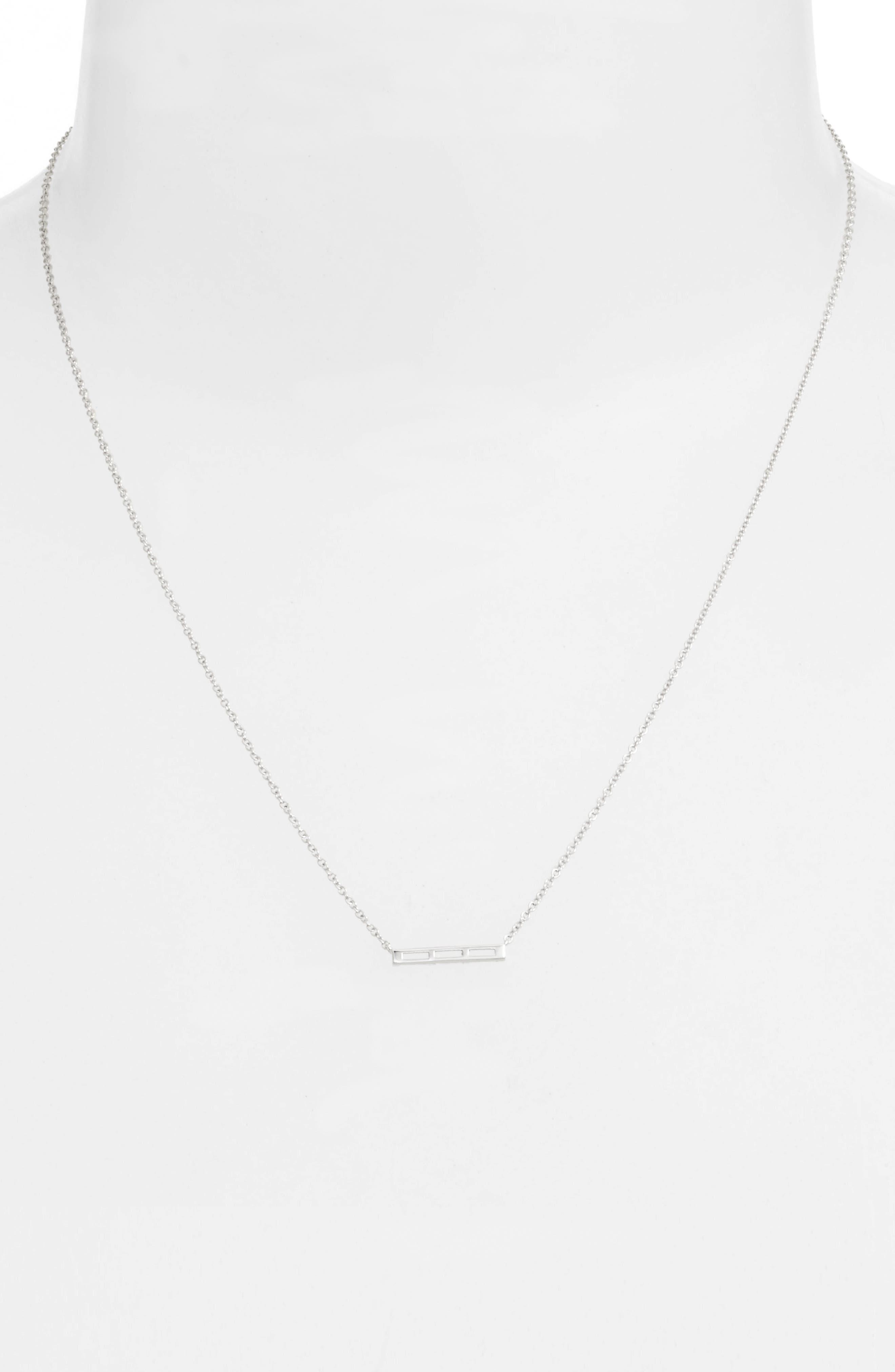 Bar Pendant Necklace,                             Alternate thumbnail 2, color,                             White Gold