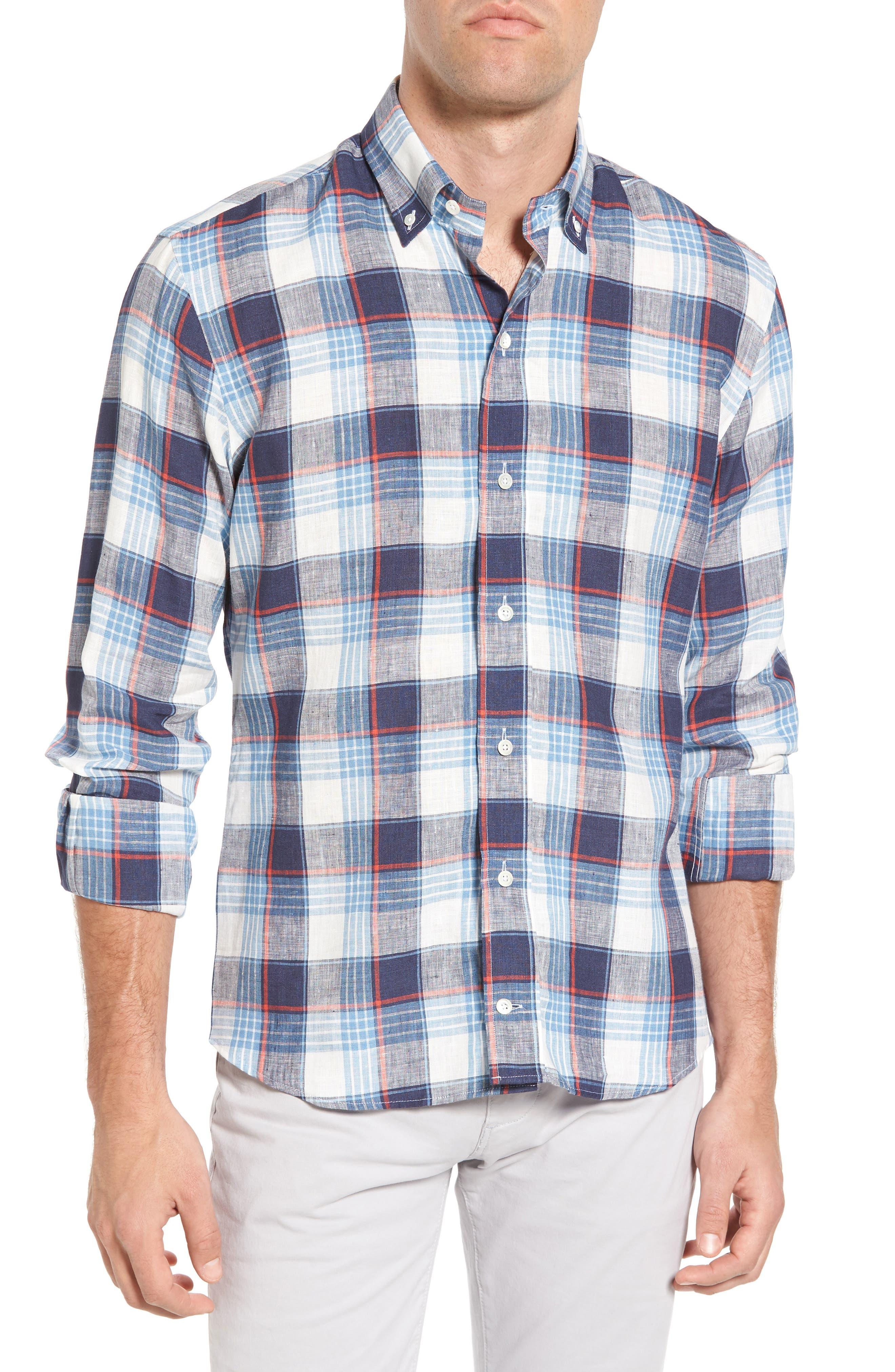 Trim Fit Plaid Linen Sport Shirt,                         Main,                         color, Cadet Blue