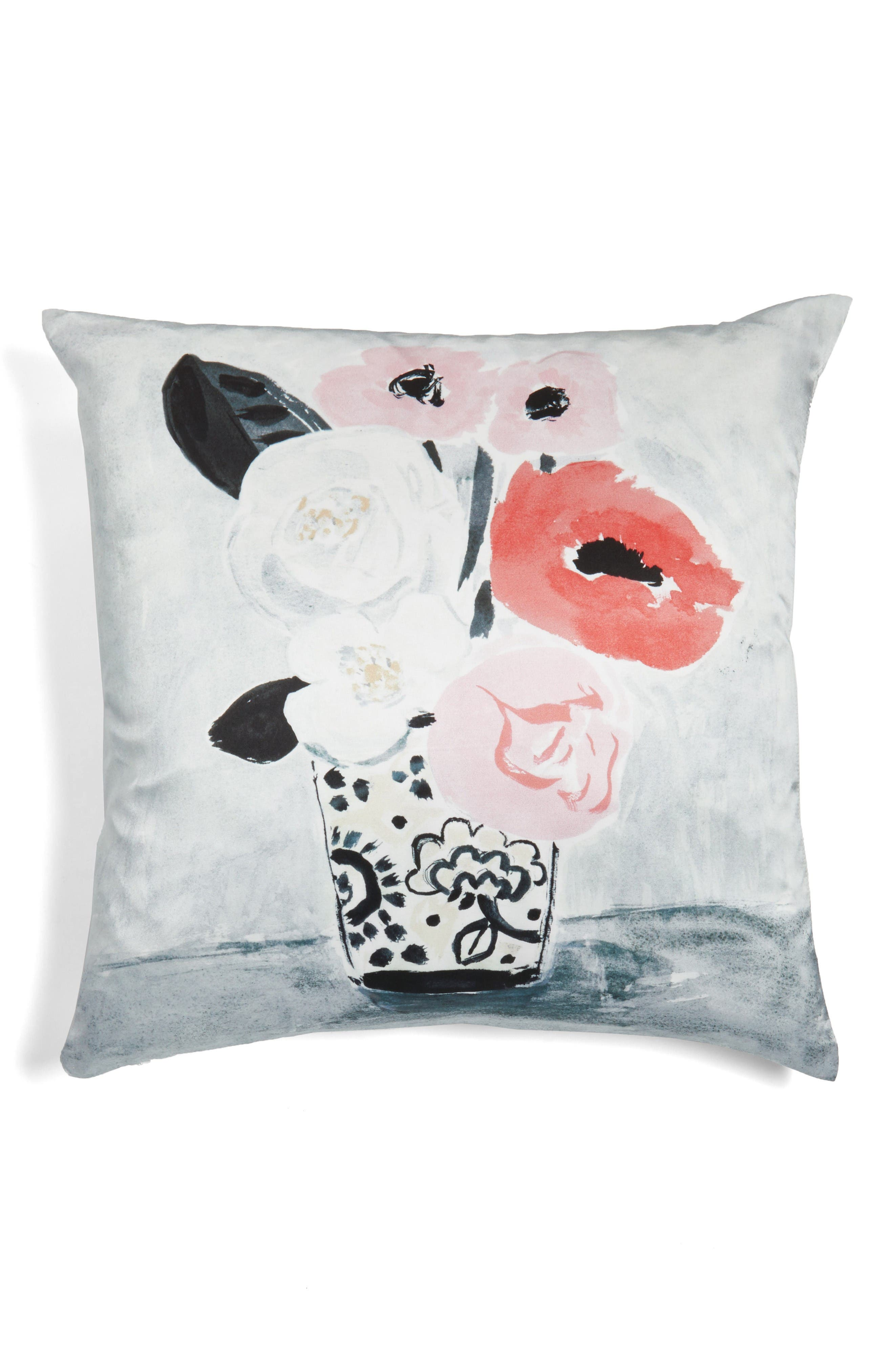 white peony accent pillow,                             Main thumbnail 1, color,                             White/ Multi