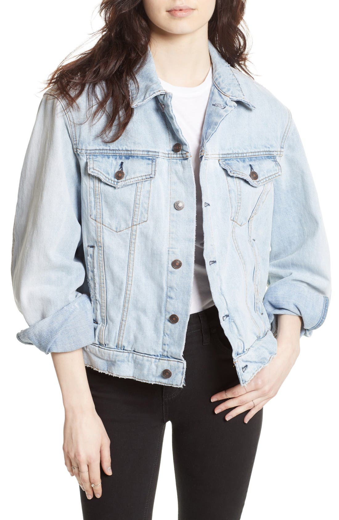 Main Image - Free People Paisley Quilted Denim Jacket