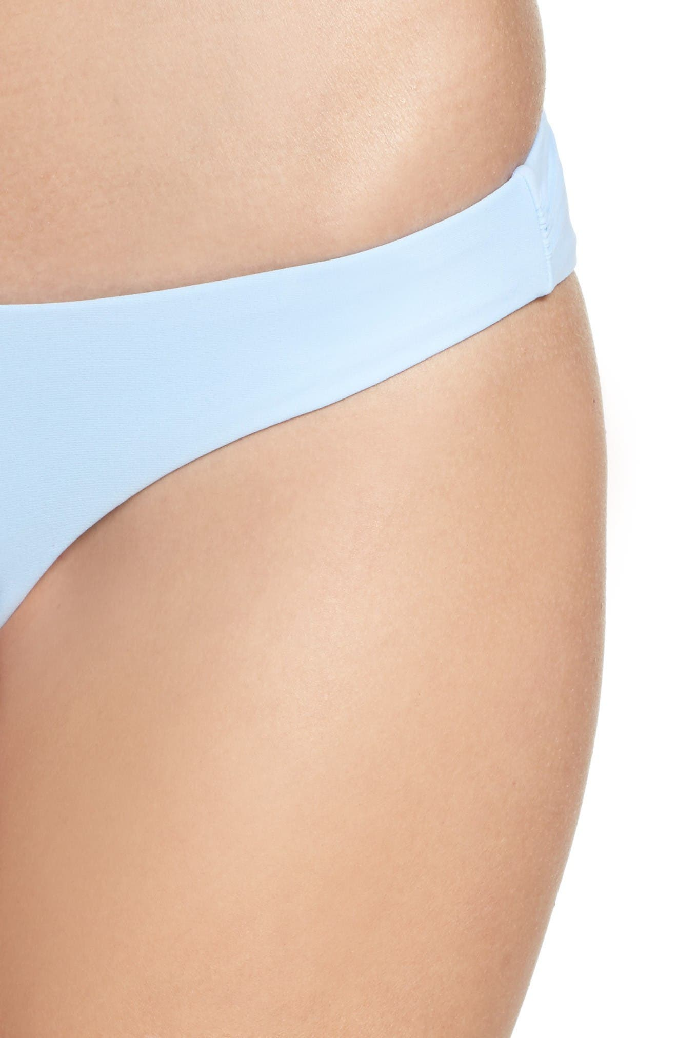 Ruched Bikini Bottoms,                             Alternate thumbnail 4, color,                             Pebble Blue