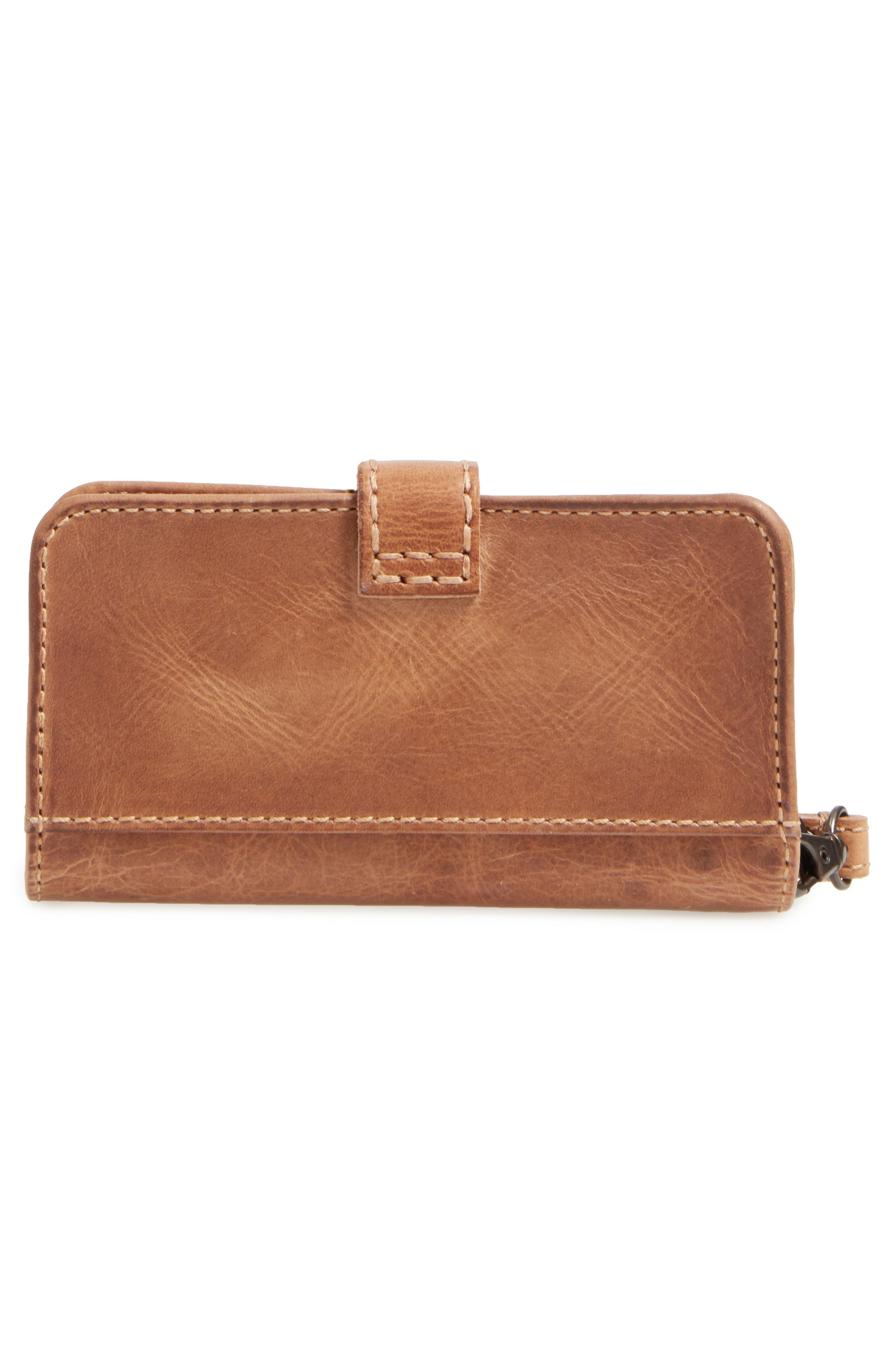 'Melissa' Leather Phone Wallet,                             Alternate thumbnail 3, color,                             Beige