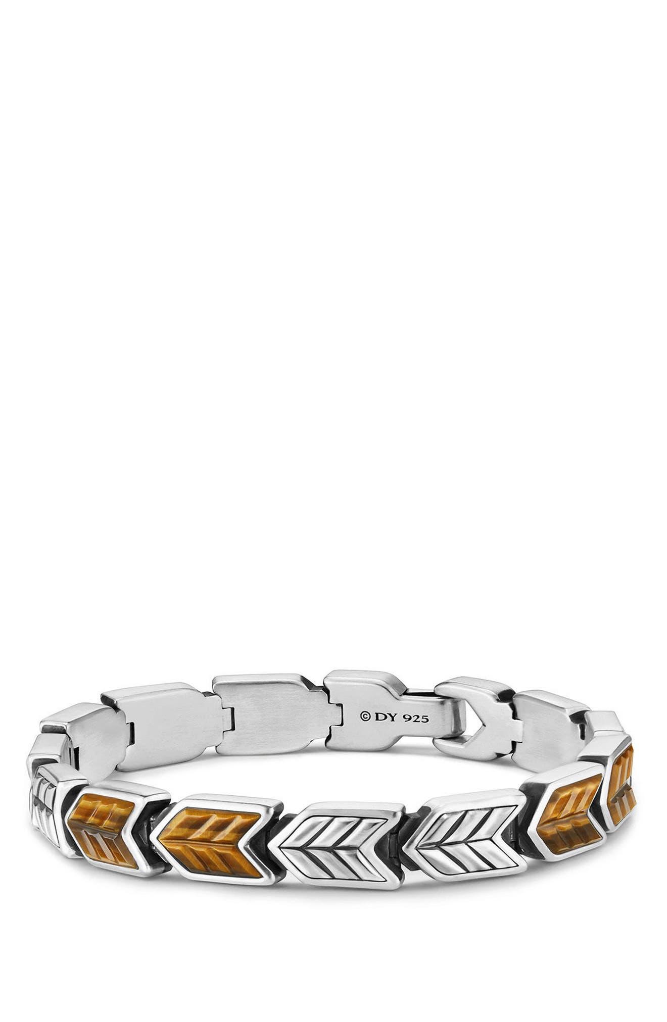 Chevron Link Bracelet,                             Main thumbnail 1, color,                             Silver/ Tigers Eye