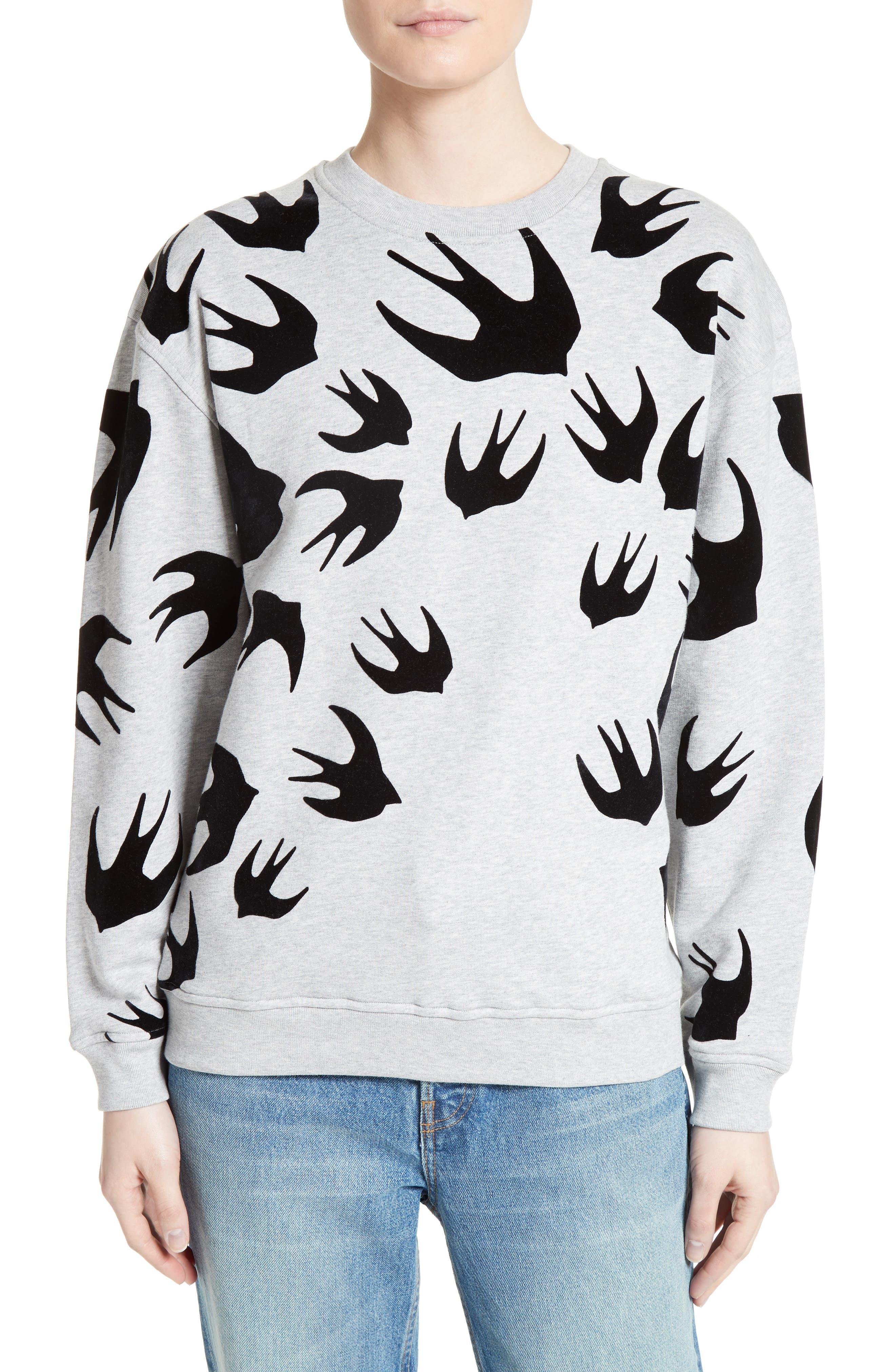 Flocked Swallow Sweatshirt,                         Main,                         color, Dark Grey Melange