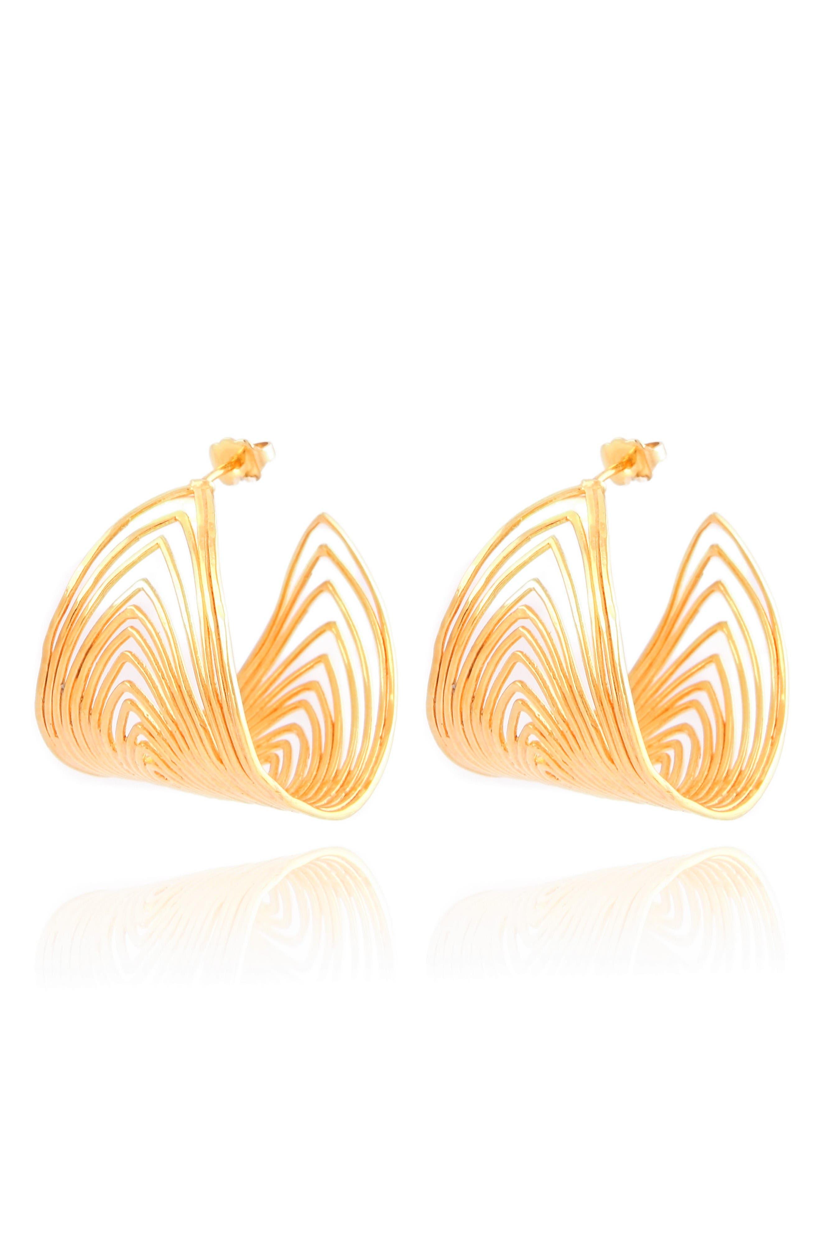 Wave Hoop Earrings,                         Main,                         color, Gold