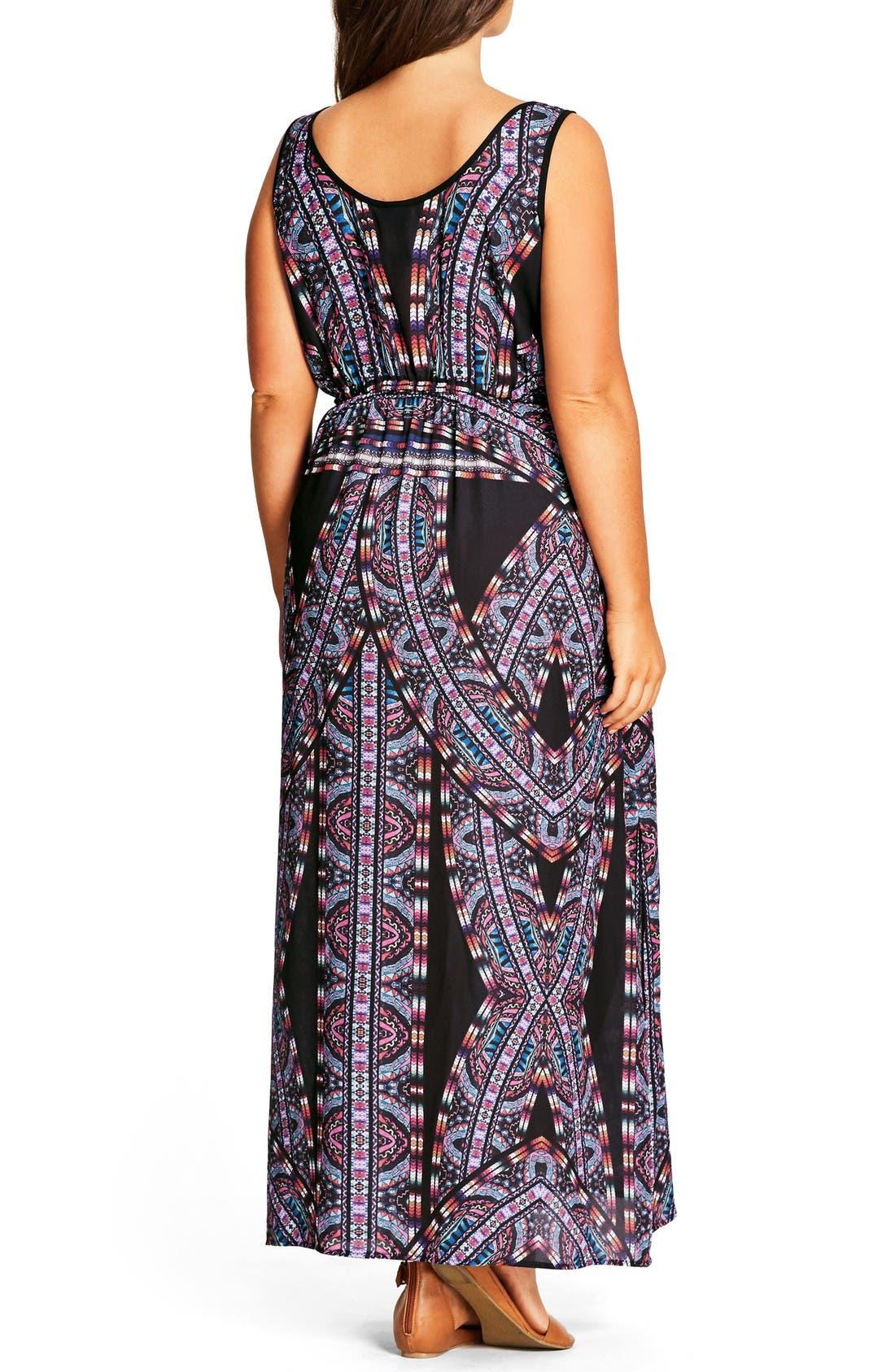 'Biba' Drawstring Maxi Dress,                             Alternate thumbnail 2, color,                             Black