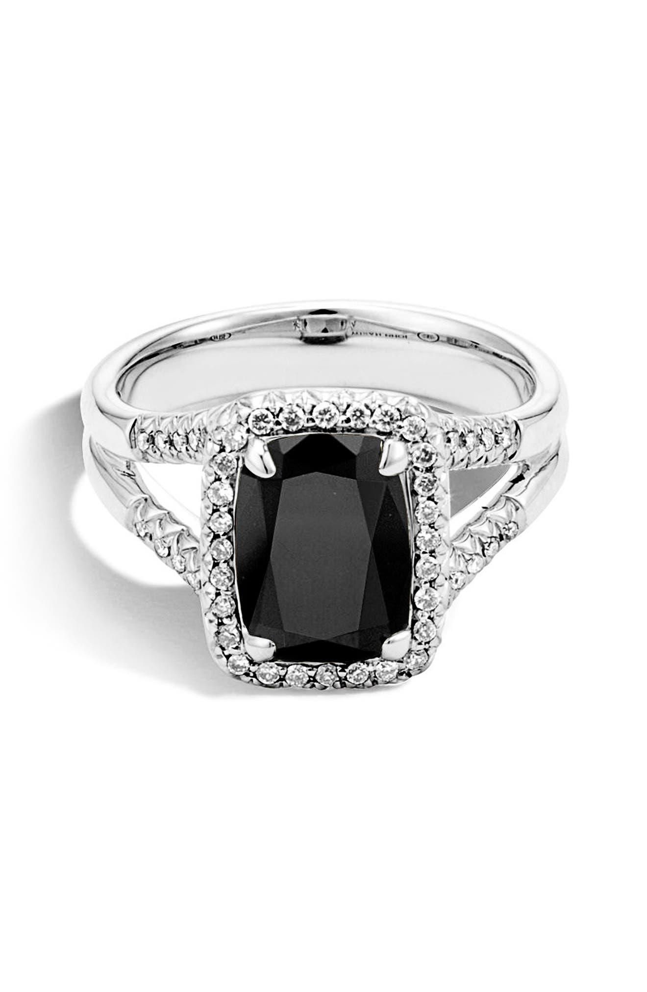 Batu Diamond Ring,                             Main thumbnail 1, color,                             Silver/ Black Onyx