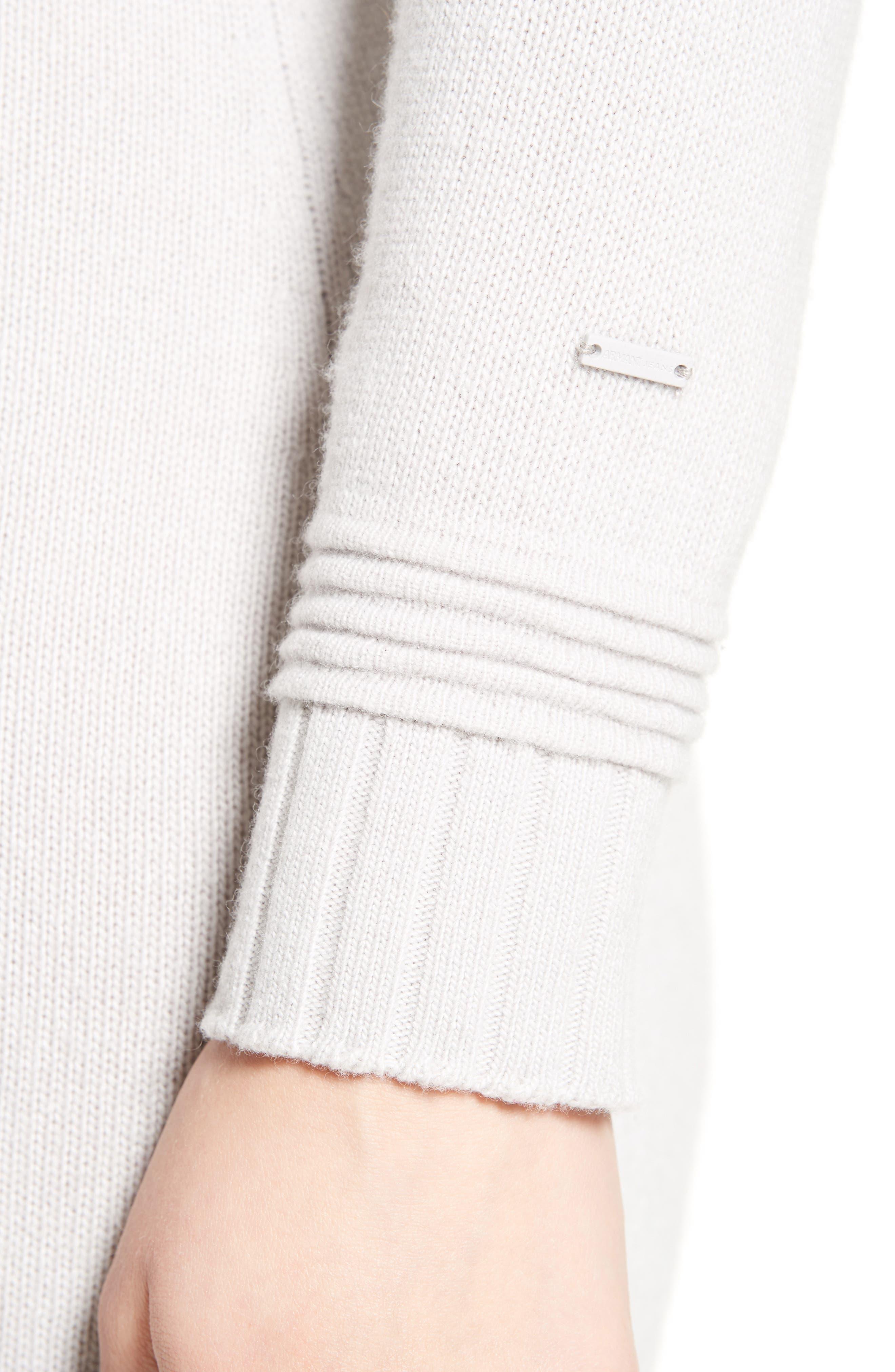 Armani Jeans Knit Sweater Dress,                             Alternate thumbnail 4, color,                             Light Grey