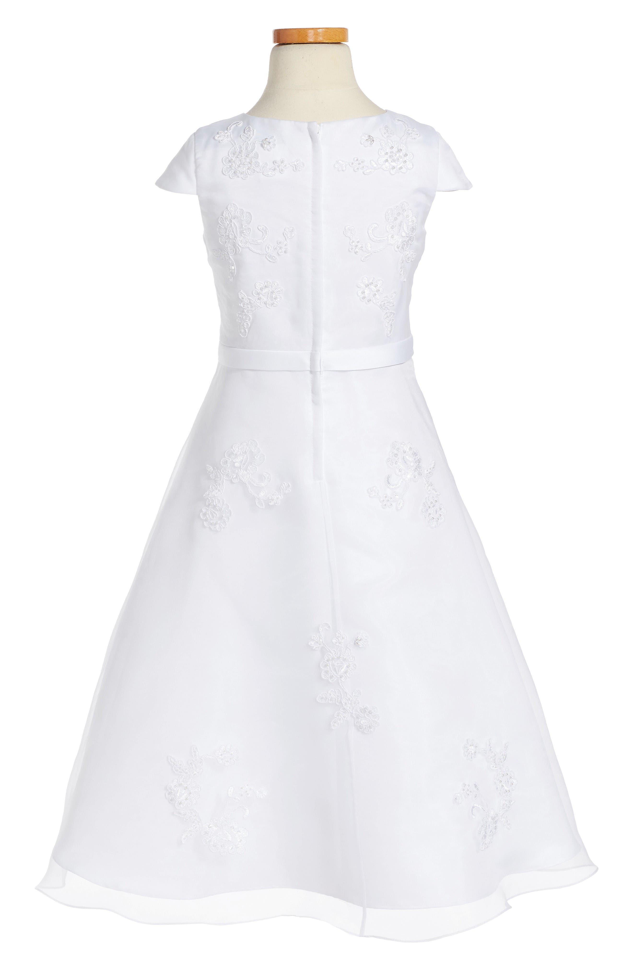 Alternate Image 2  - Us Angels Lace Floral Fit & Flare Dress (Little Girls & Big Girls)