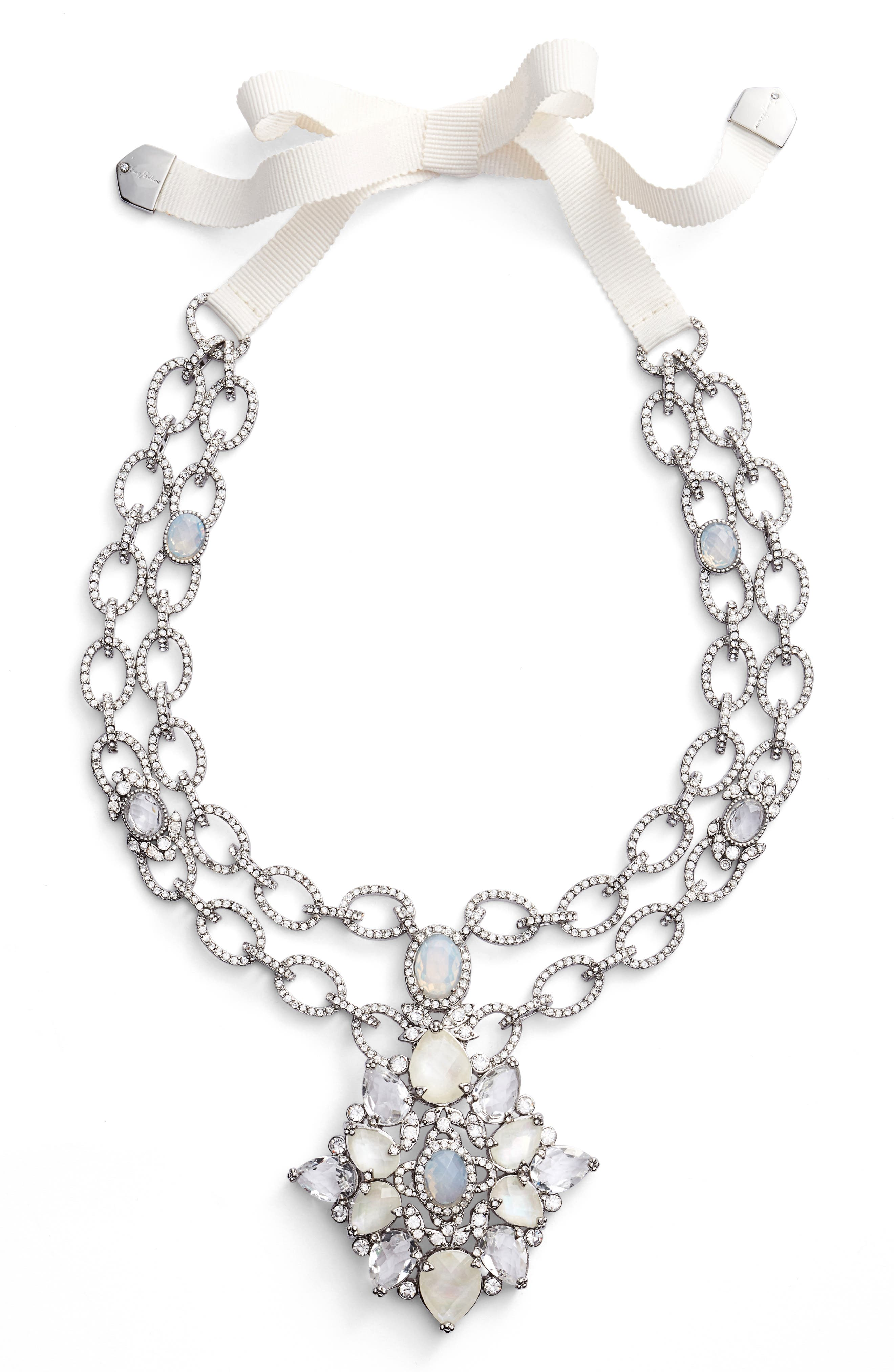 JENNY PACKHAM Mother of Pearl & Crystal Pendant Necklace