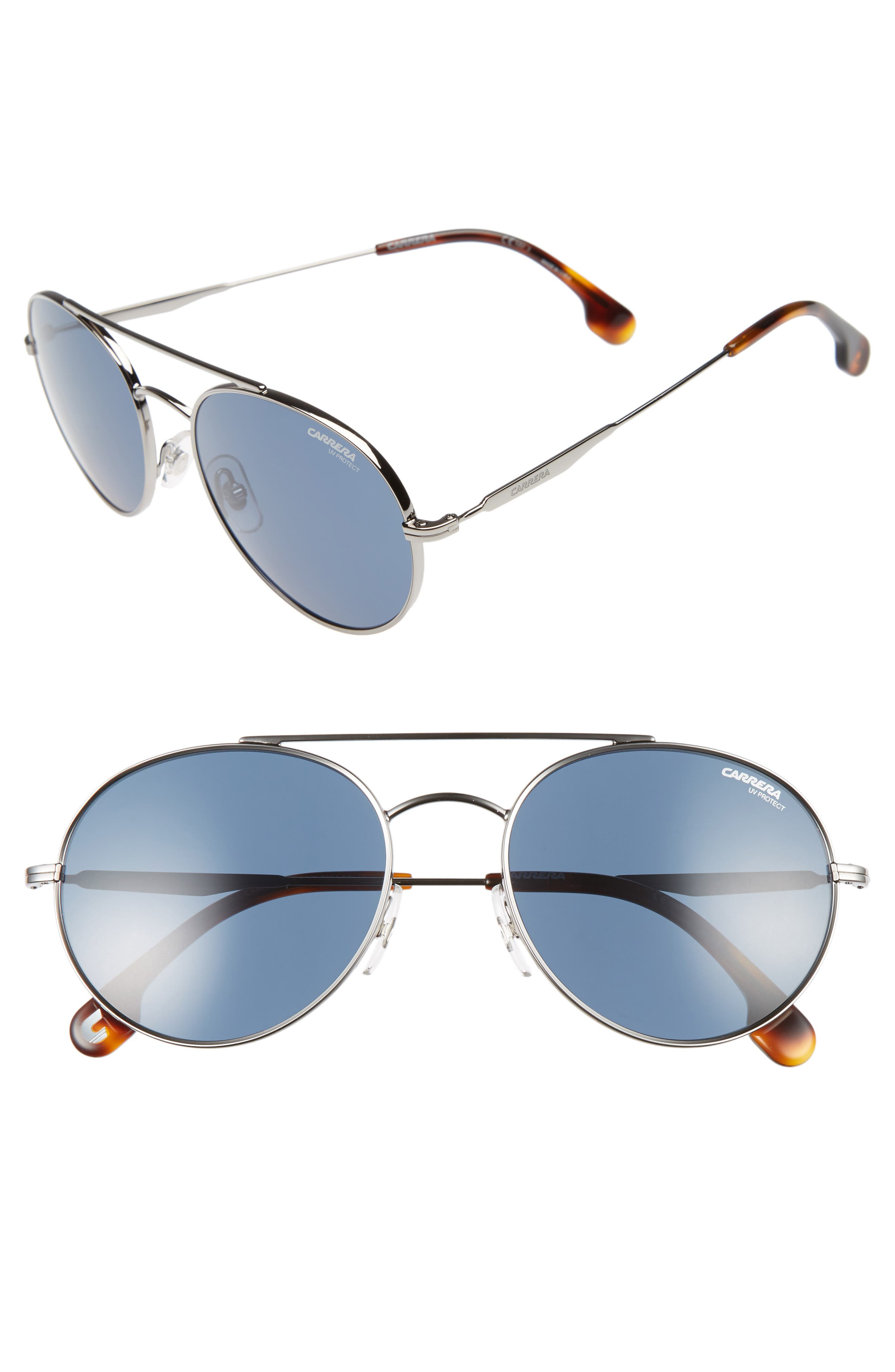 56mm Sunglasses,                         Main,                         color, Ruthenium/ Blue Avio