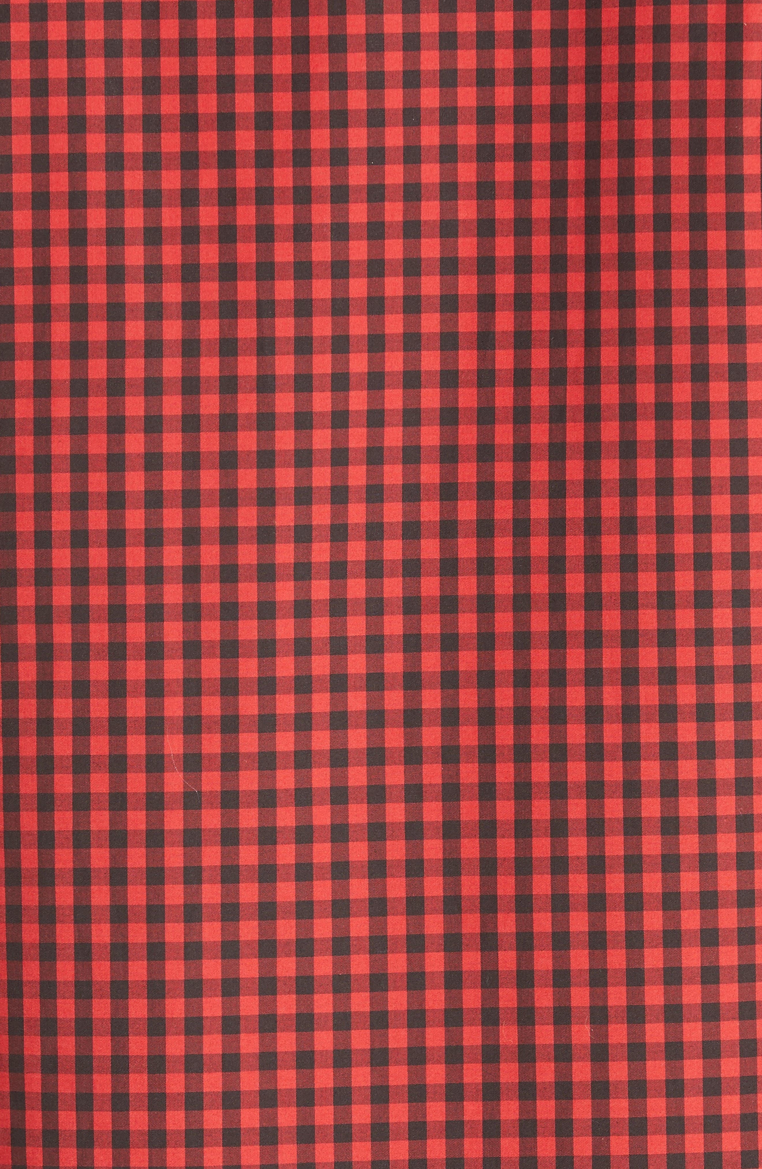 Extra Trim Fit Star Gingham Sport Shirt,                             Alternate thumbnail 5, color,                             Red