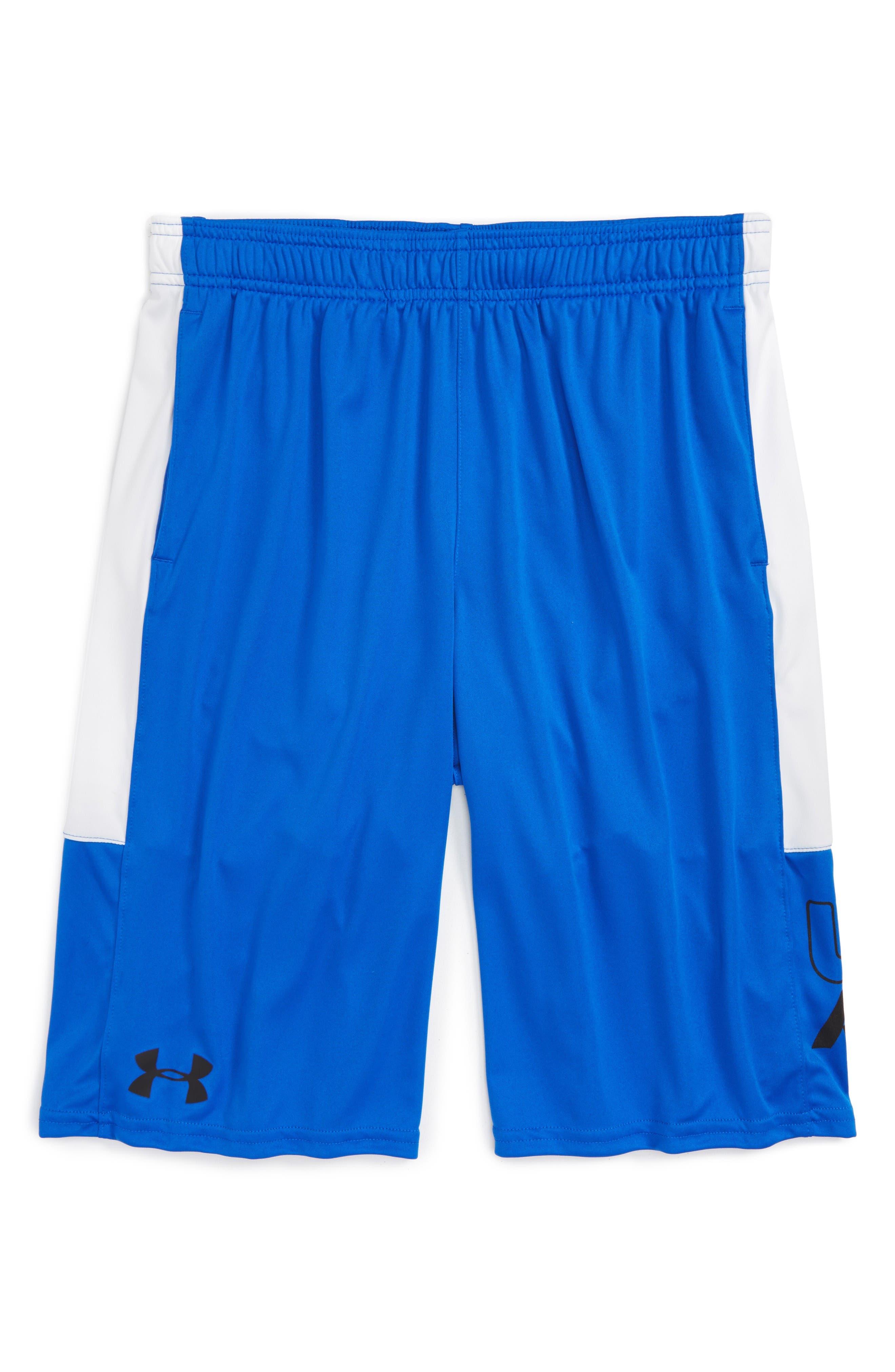 Stunt HeatGear<sup>®</sup> Shorts,                             Main thumbnail 1, color,                             Ultra Blue/ White/ Black