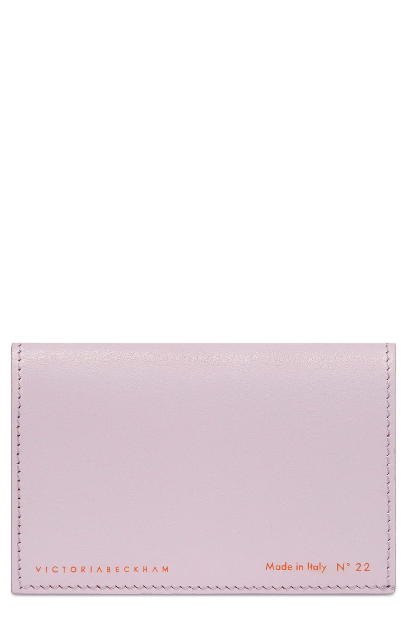 Bifold Leather Card Case,                             Main thumbnail 1, color,                             Lilac
