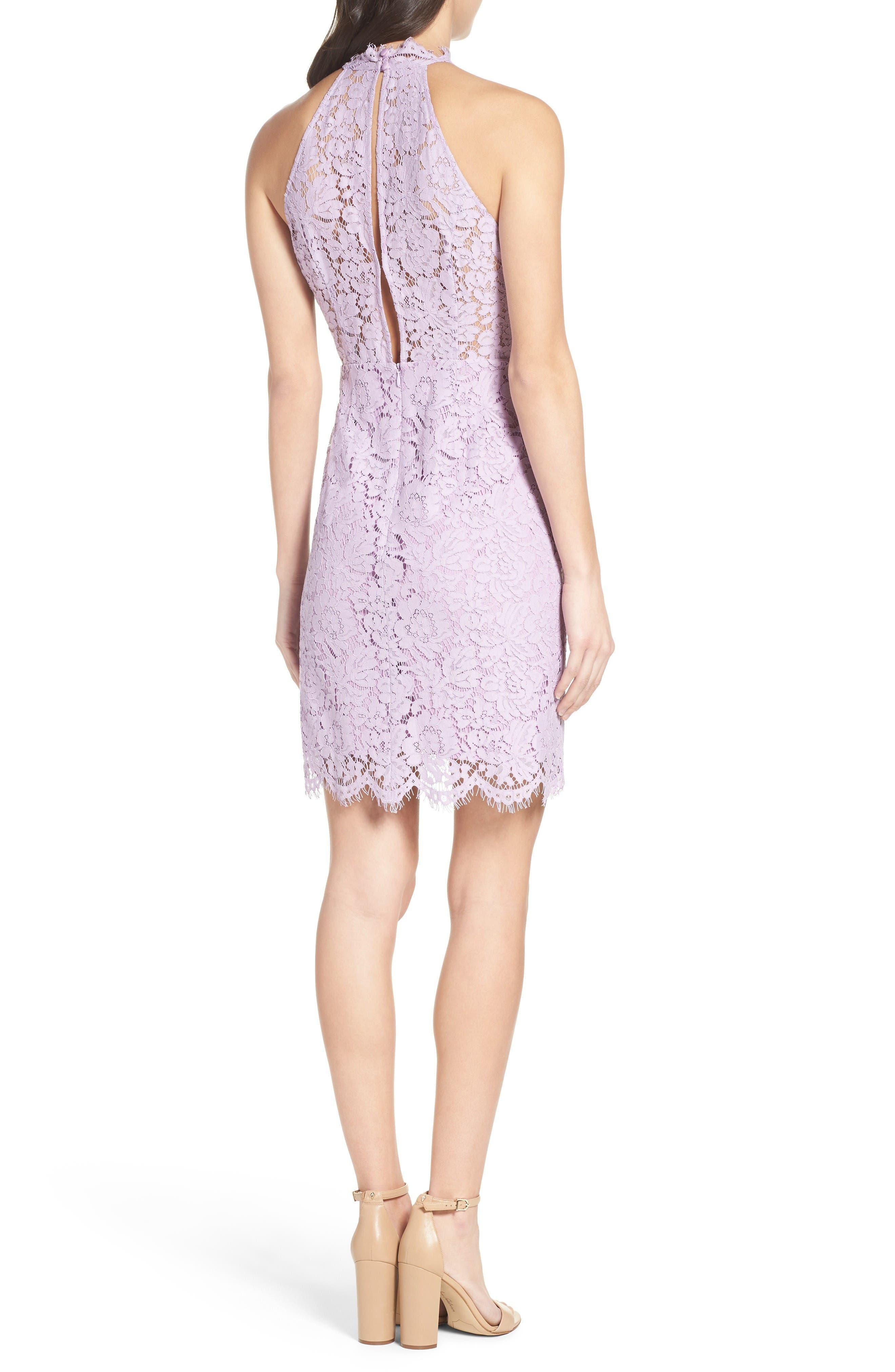 'Cara' High Neck Lace Dress,                             Alternate thumbnail 2, color,                             Lavender