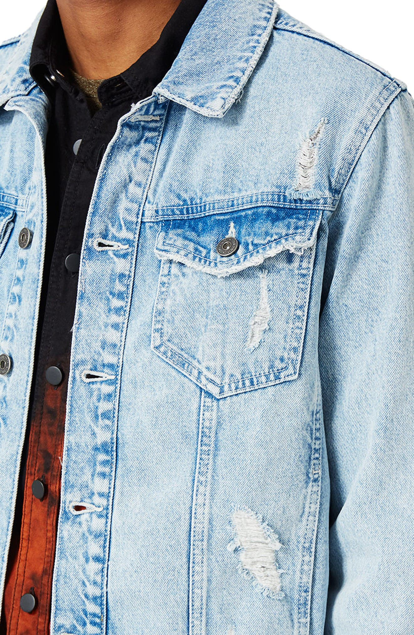 Distressed Denim Jacket,                             Alternate thumbnail 4, color,                             Blue