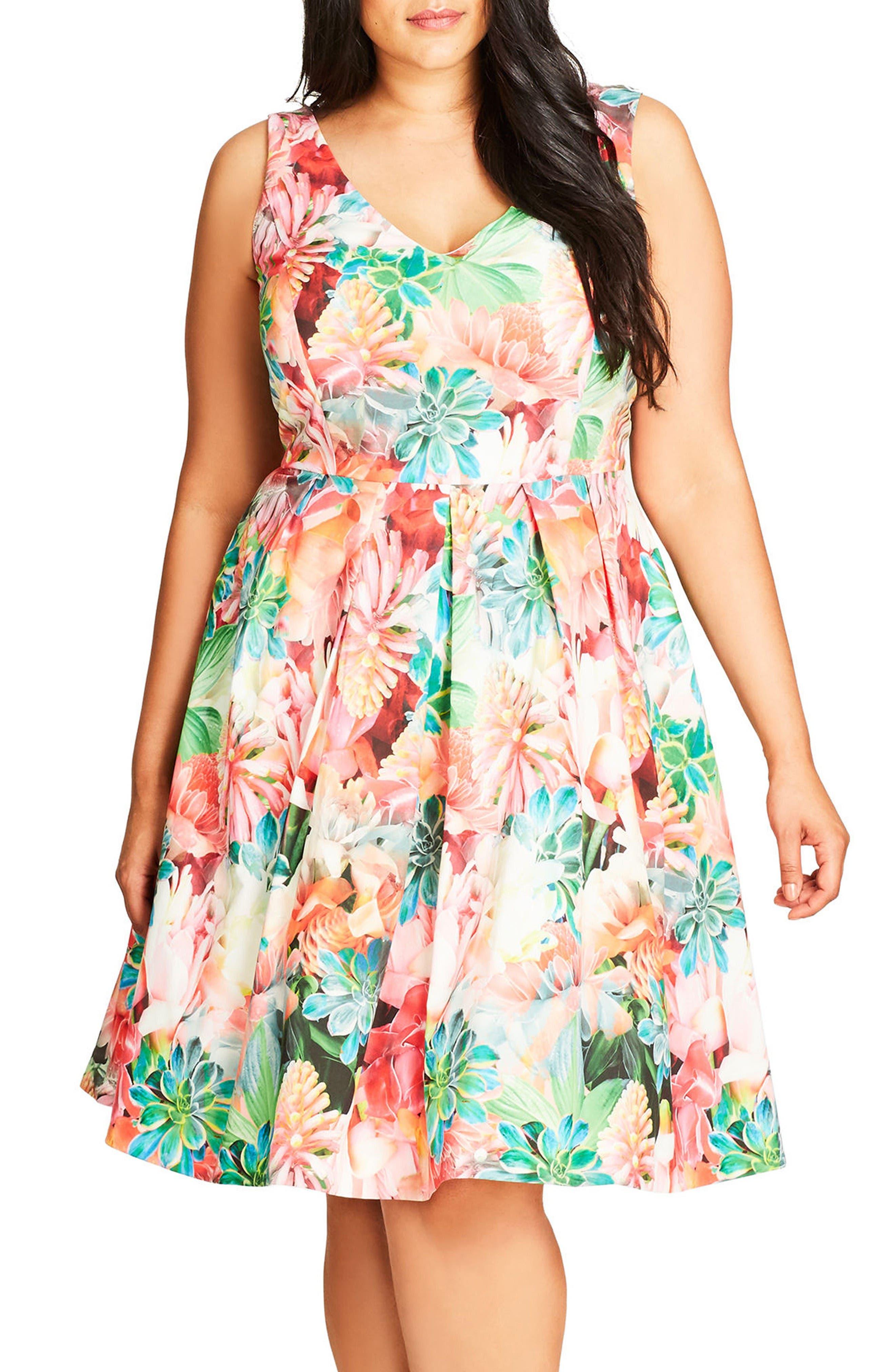 City Chic Floral Print Fit & Flare Dress (Plus Size)