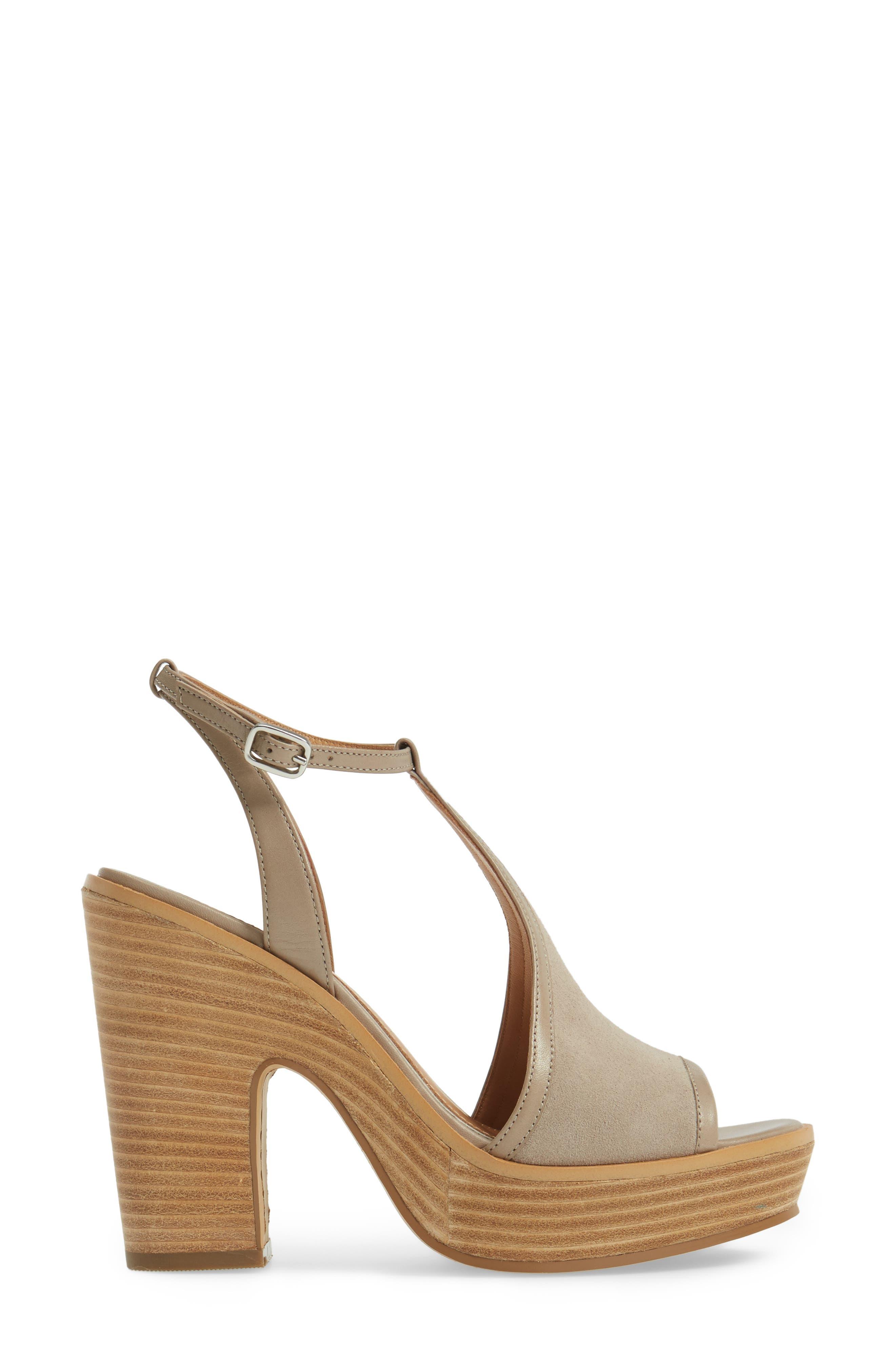 India T-Strap Platform Sandal,                             Alternate thumbnail 3, color,                             Rock Suede