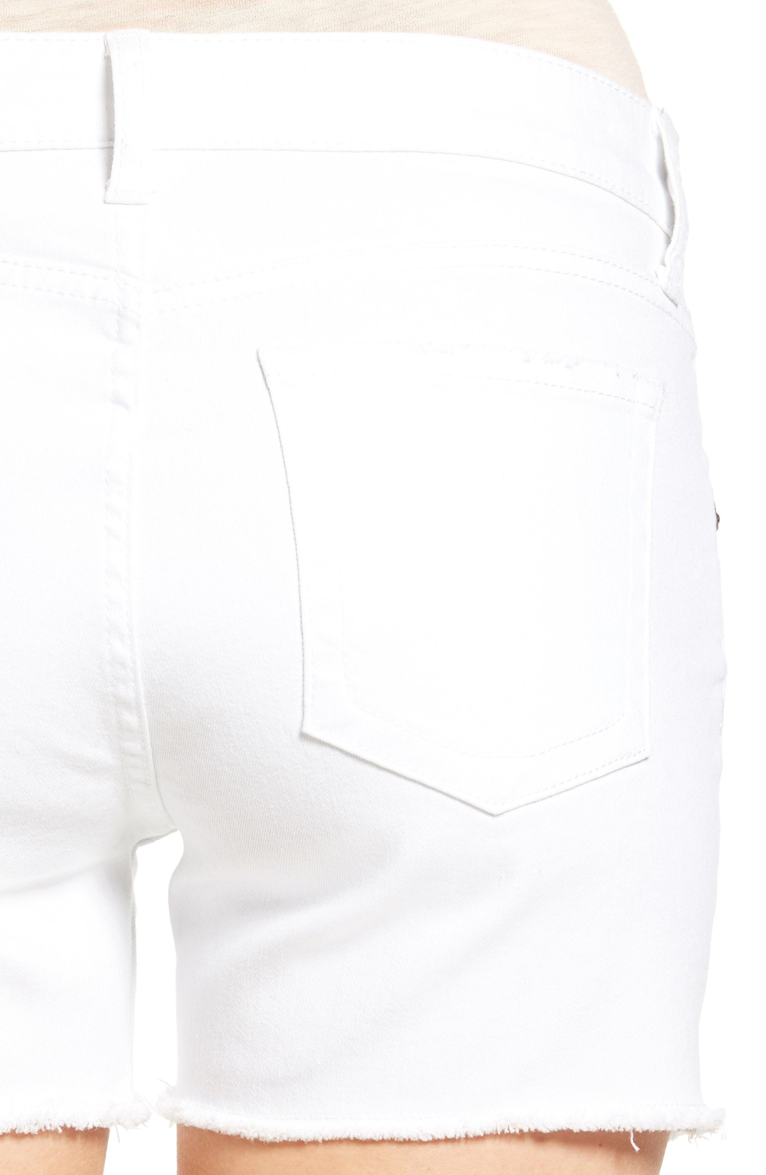 Alternate Image 4  - KUT from the Kloth Gidget Denim Shorts (Optic White)