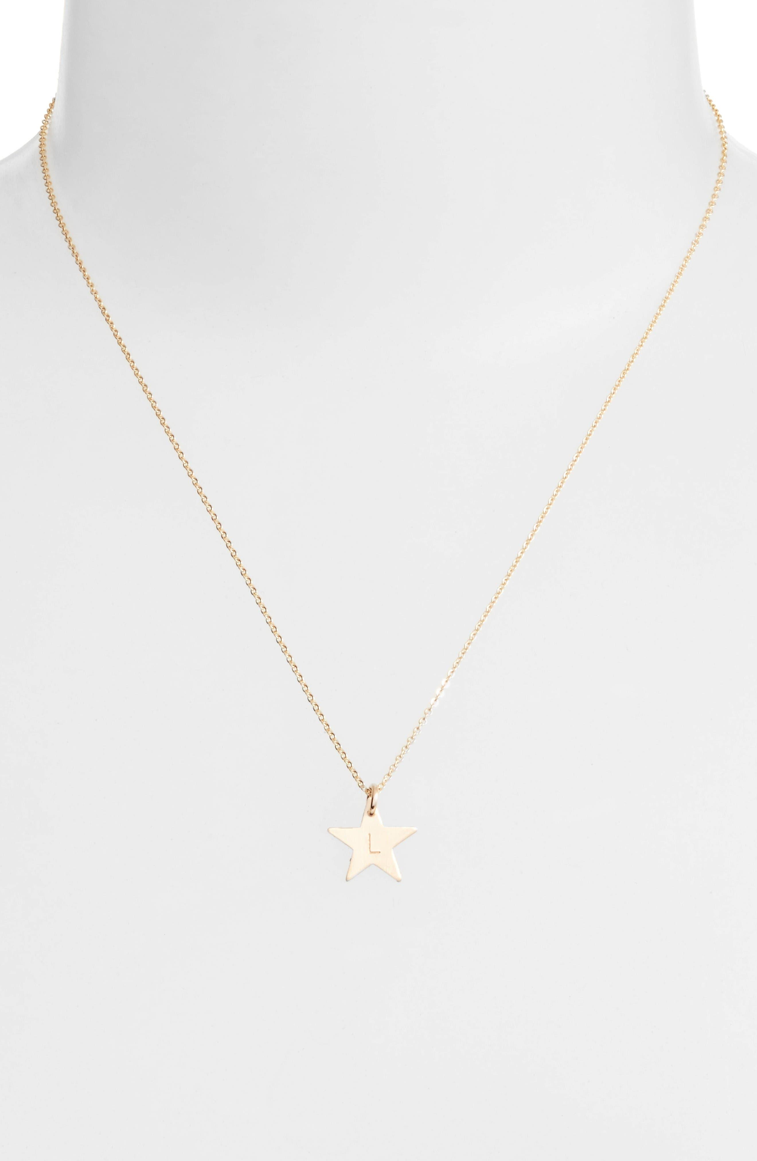 14k-Gold Fill Initial Mini Star Pendant Necklace,                             Alternate thumbnail 2, color,                             Gold/ L