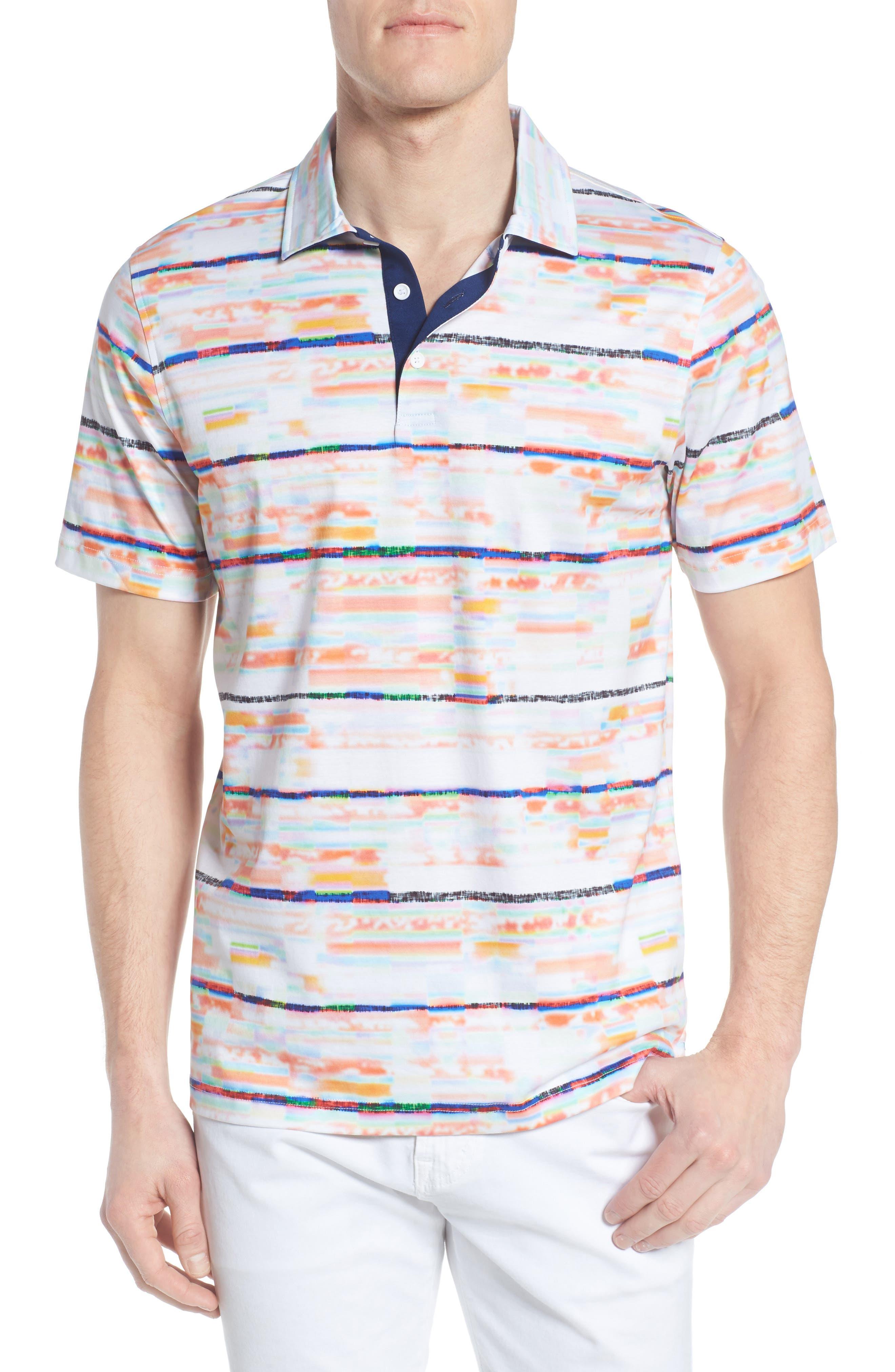 BUGATCHI Stripe Print Jersey Polo