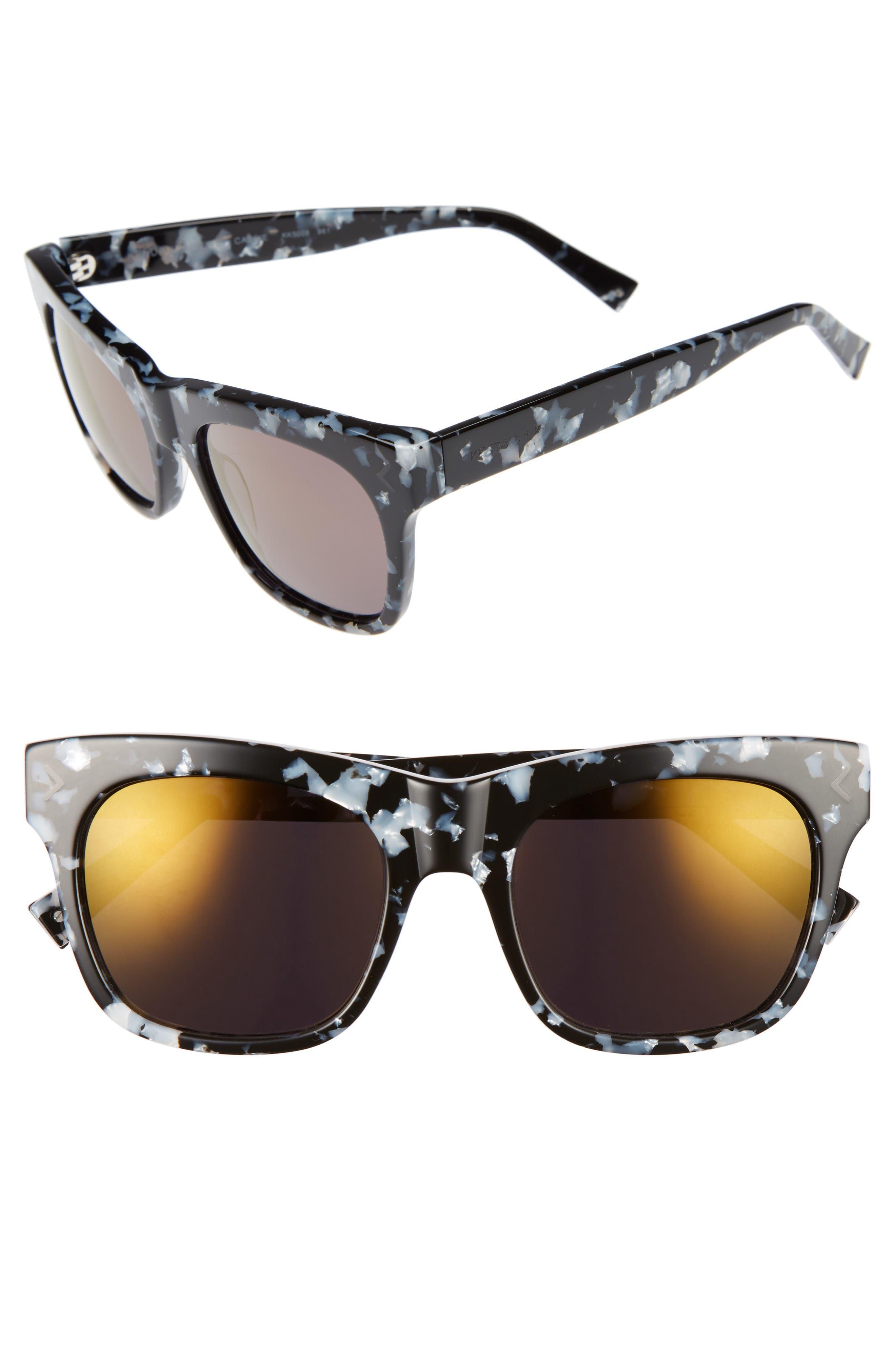 Cassie 54mm Sunglasses,                         Main,                         color, Black/ White Marble