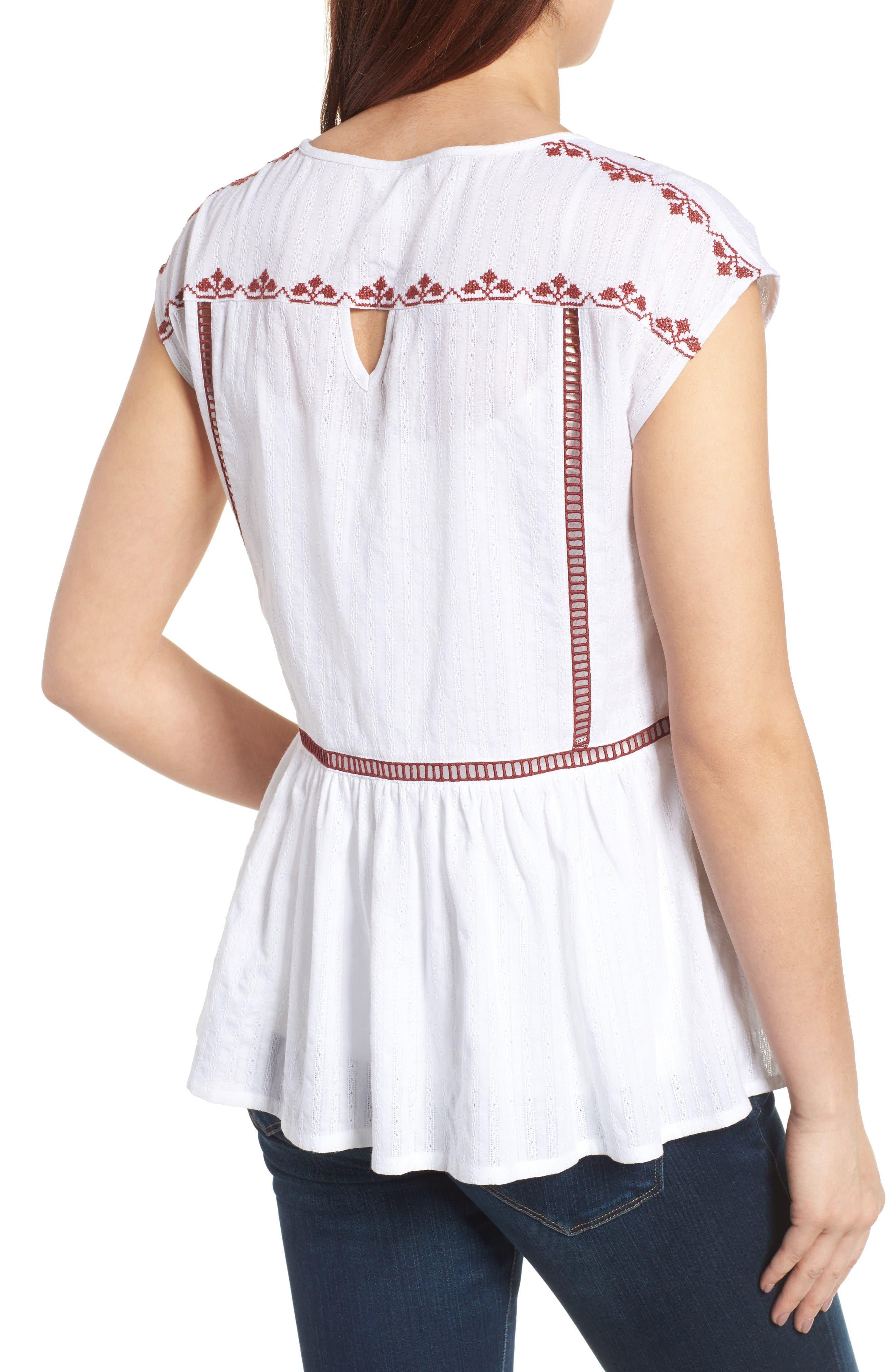 Alternate Image 3  - Caslon® Embroidered Cotton Top (Regular & Petite)
