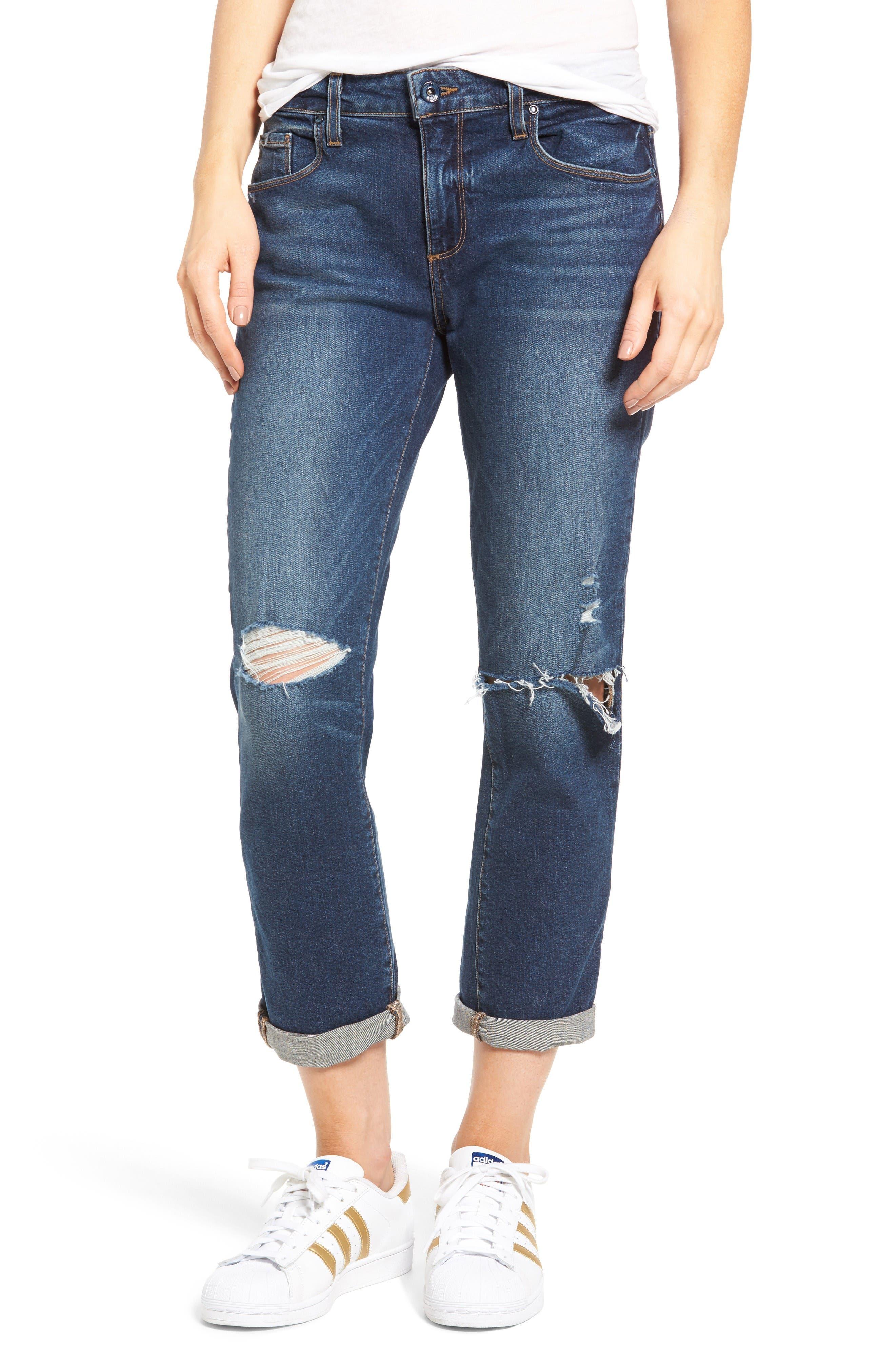 Brigitte Crop Boyfriend Jeans,                         Main,                         color, Nerea Destructed
