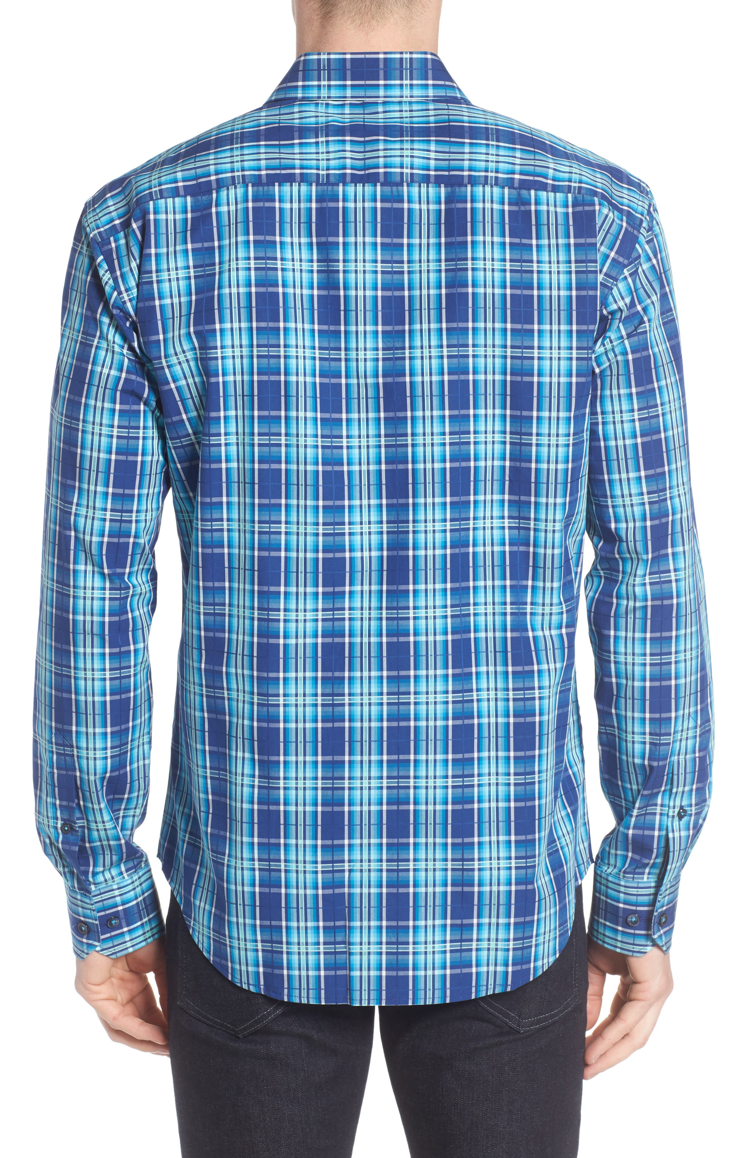 Shaped Fit Plaid Sport Shirt,                             Alternate thumbnail 2, color,                             Navy