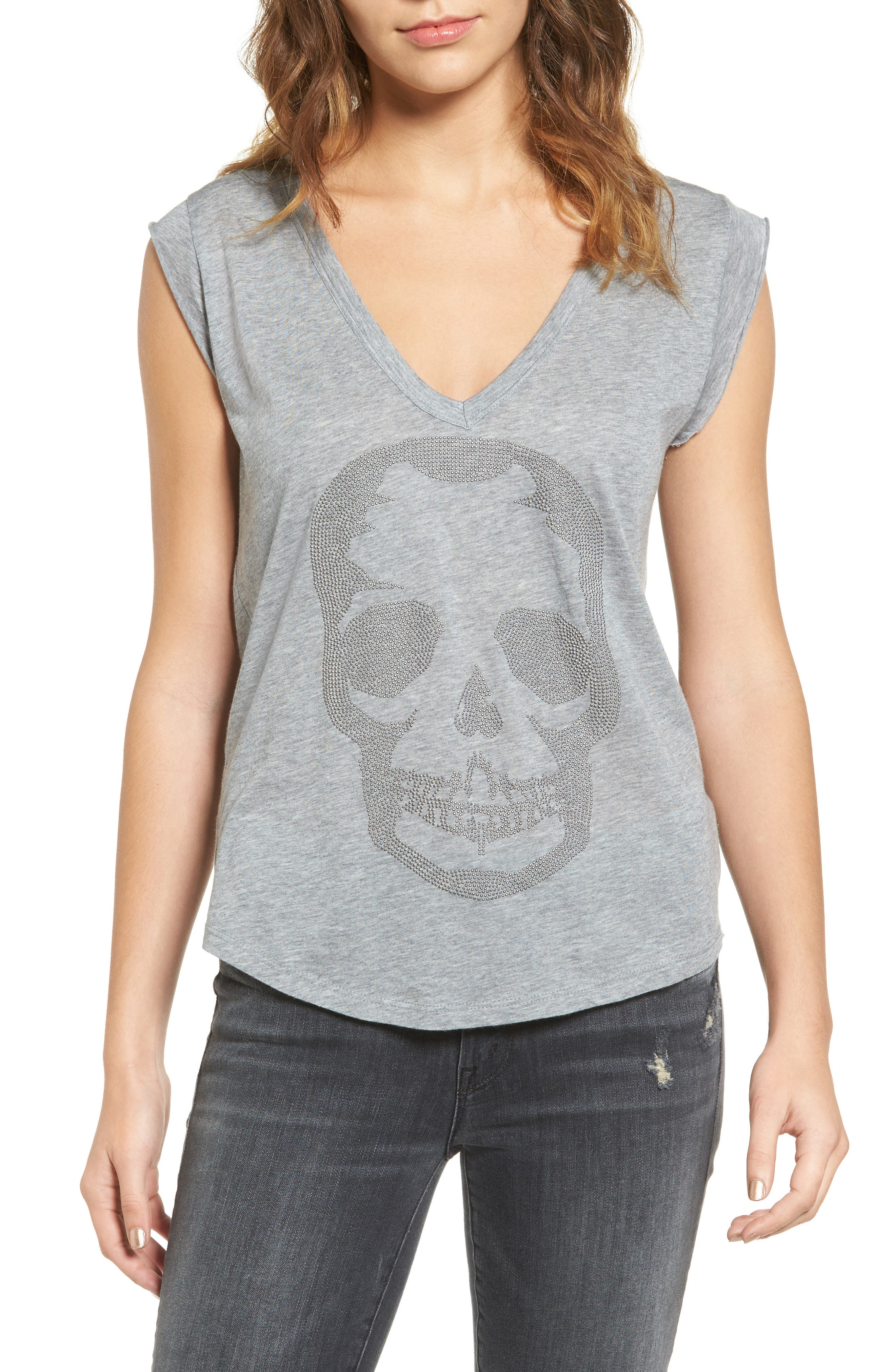Skull Tee,                             Main thumbnail 1, color,                             Gris Chine