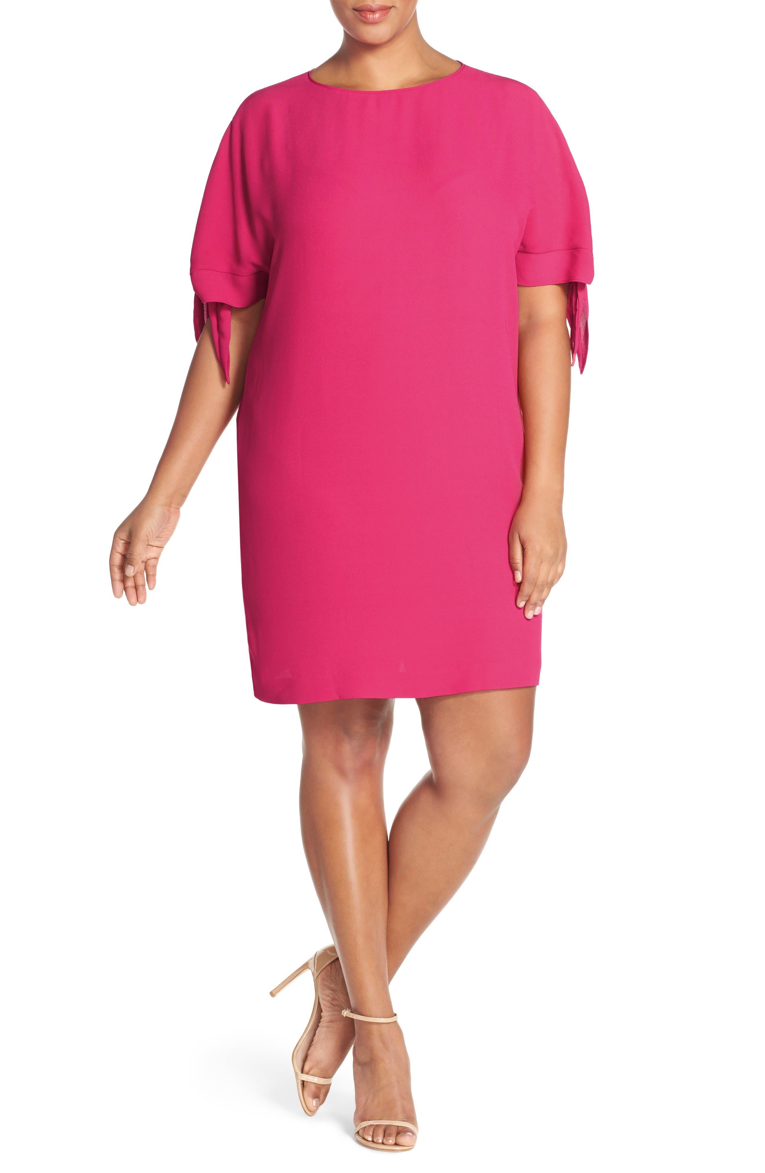 Cold Shoulder Shift Dress,                         Main,                         color, Bright Pink