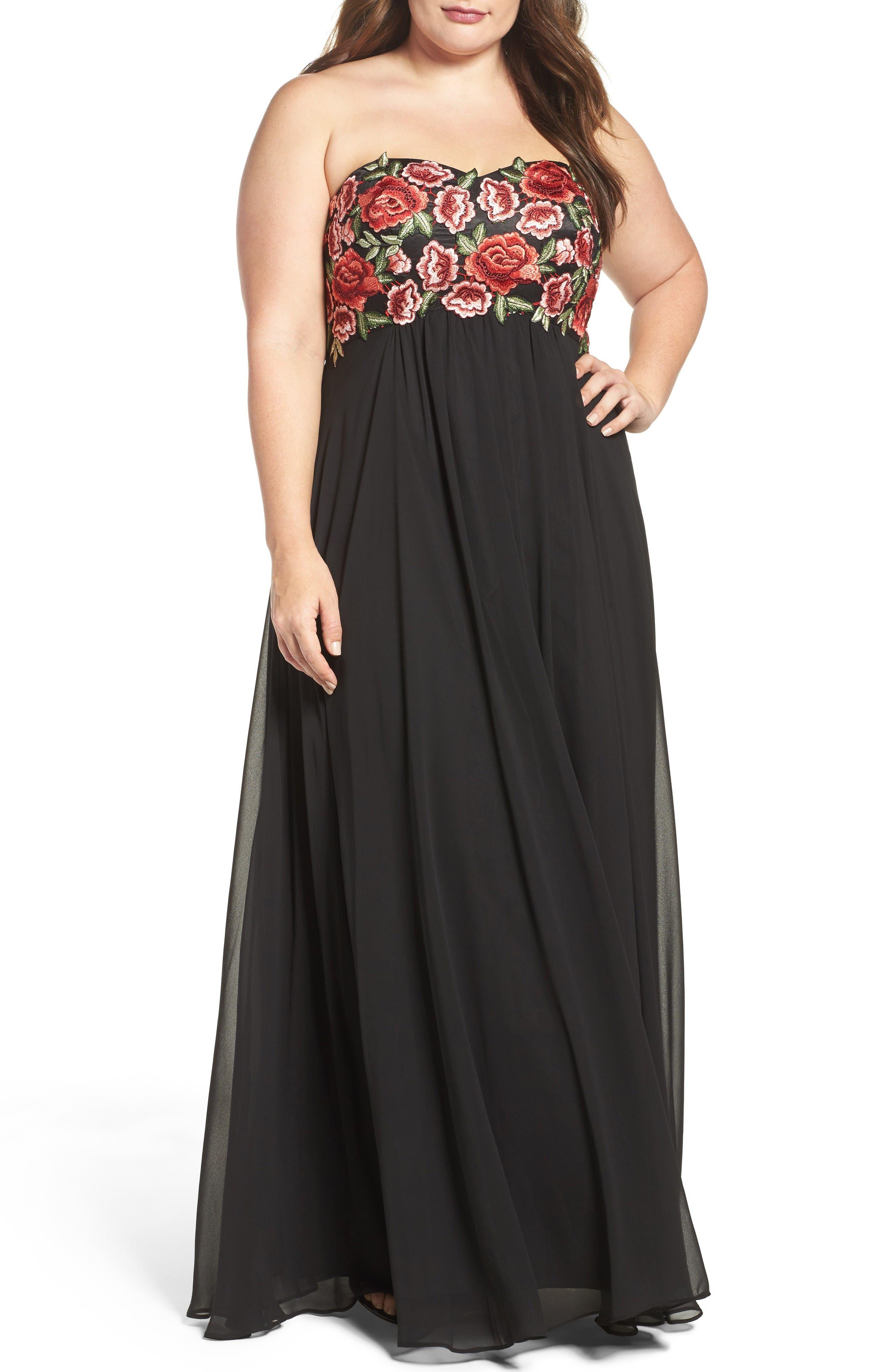 Floral Appliqué Strapless Gown,                             Main thumbnail 1, color,                             Black/ Red