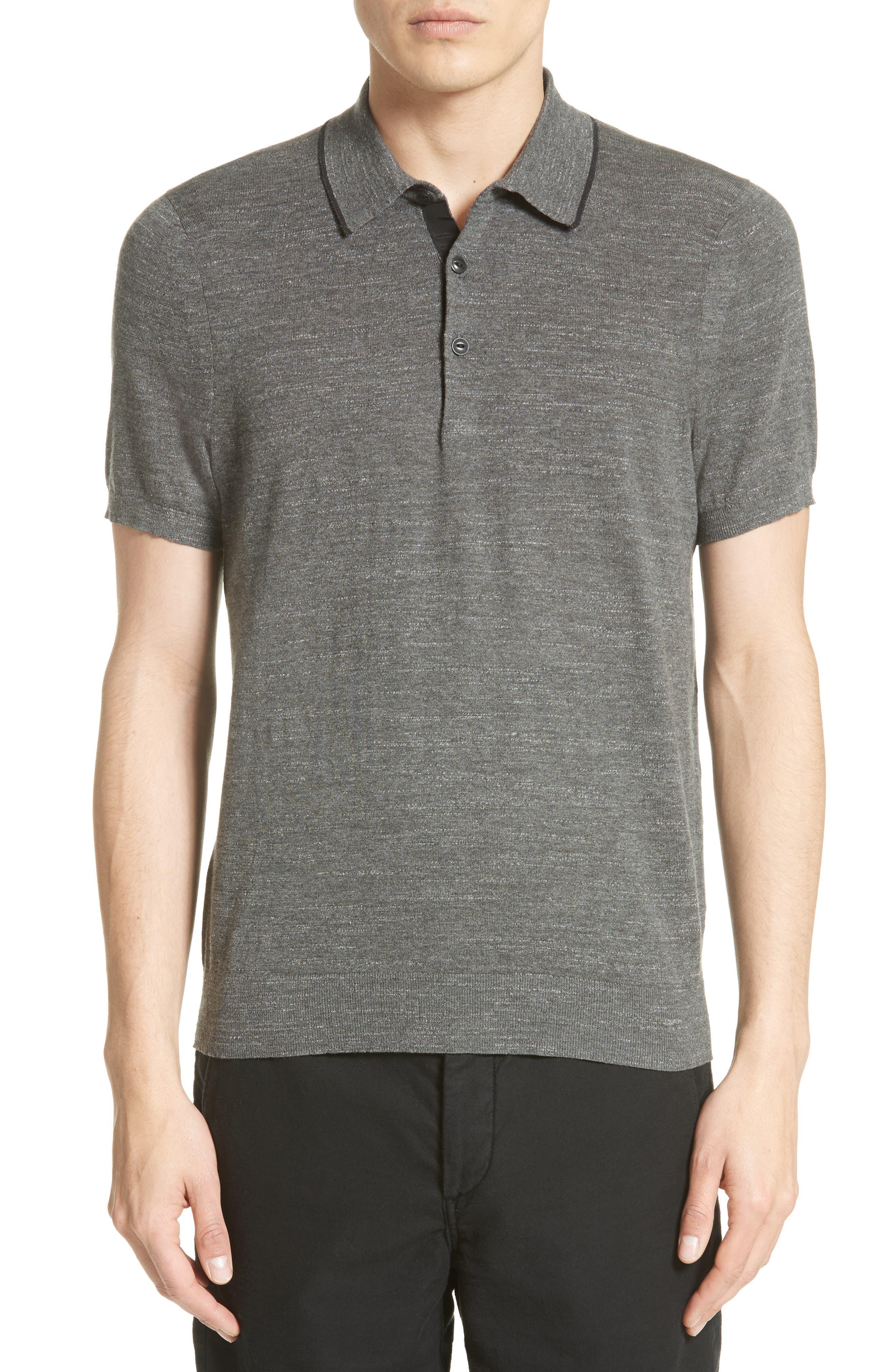 Lucas Cotton Polo,                         Main,                         color, Grey Heather