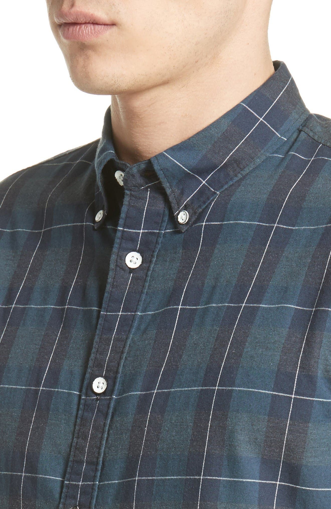 Tomlin Plaid Sport Shirt,                             Alternate thumbnail 4, color,                             Navy Multi