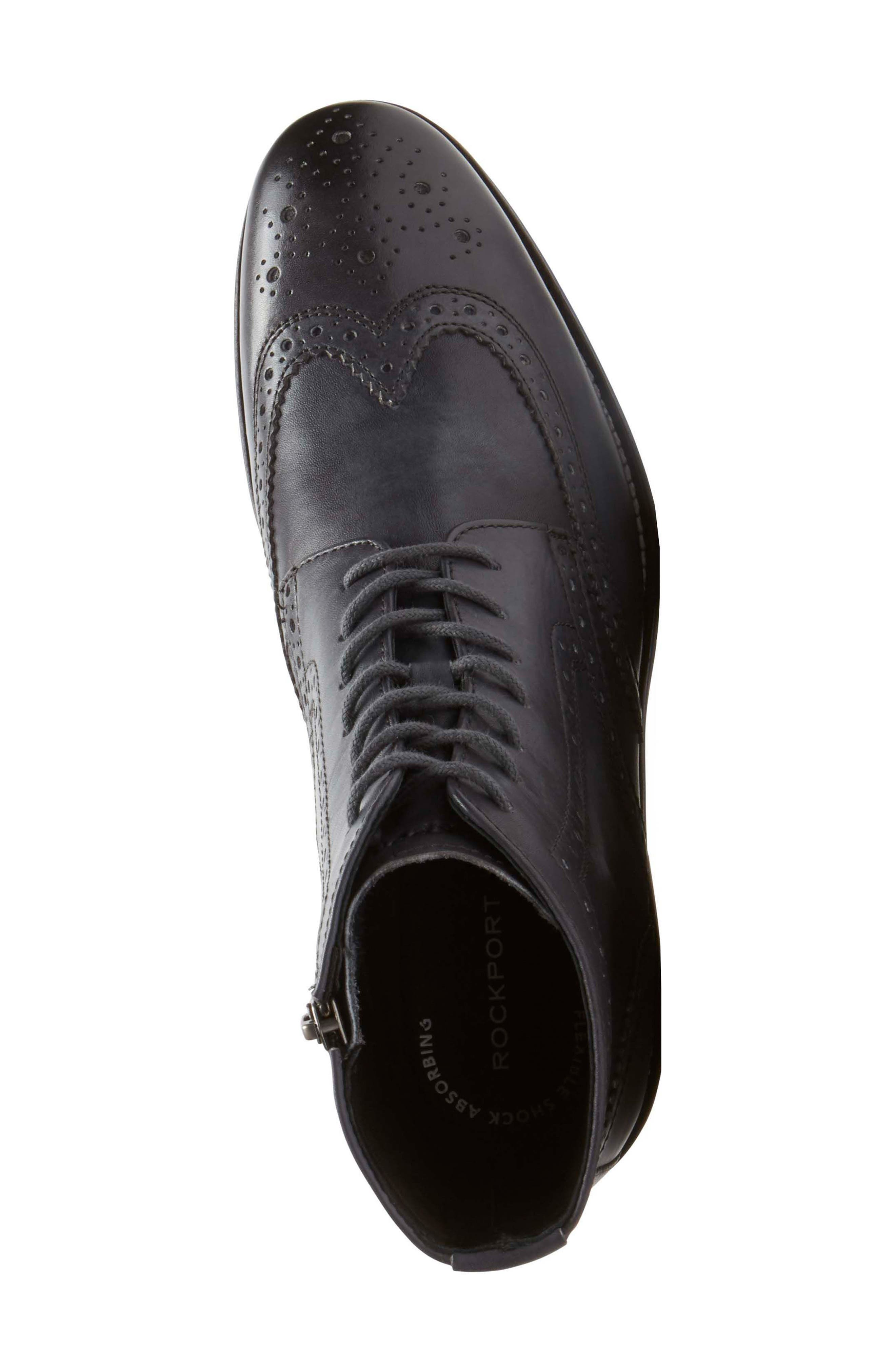 Wyat Wingtip Boot,                             Alternate thumbnail 5, color,                             Dark Shadow Leather