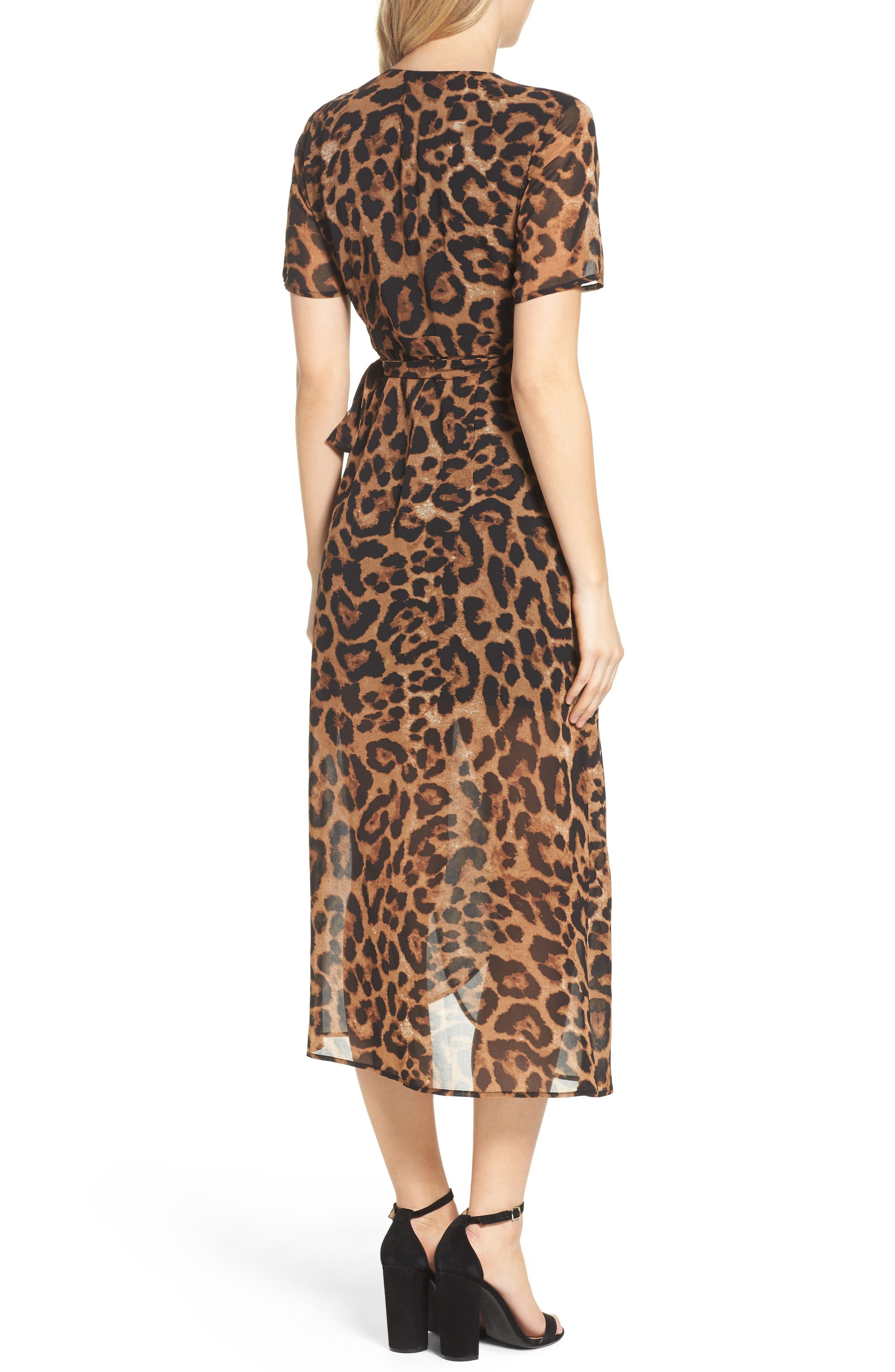 Alternate Image 2  - Bardot Leopard Print Wrap Dress