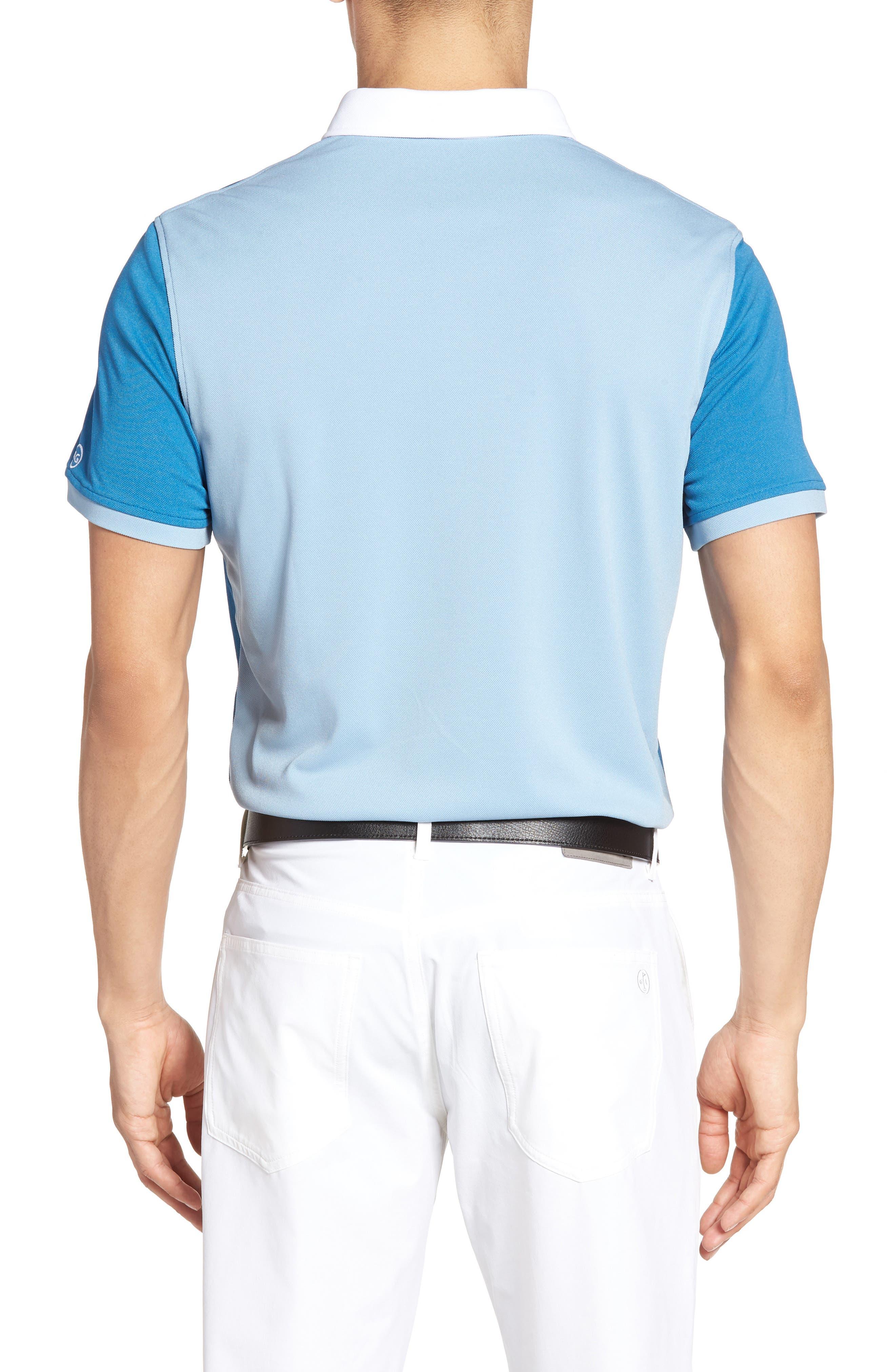 The Deuce Colorblock Piqué Polo,                             Alternate thumbnail 2, color,                             Blue Creek/ Clear Sky/ White