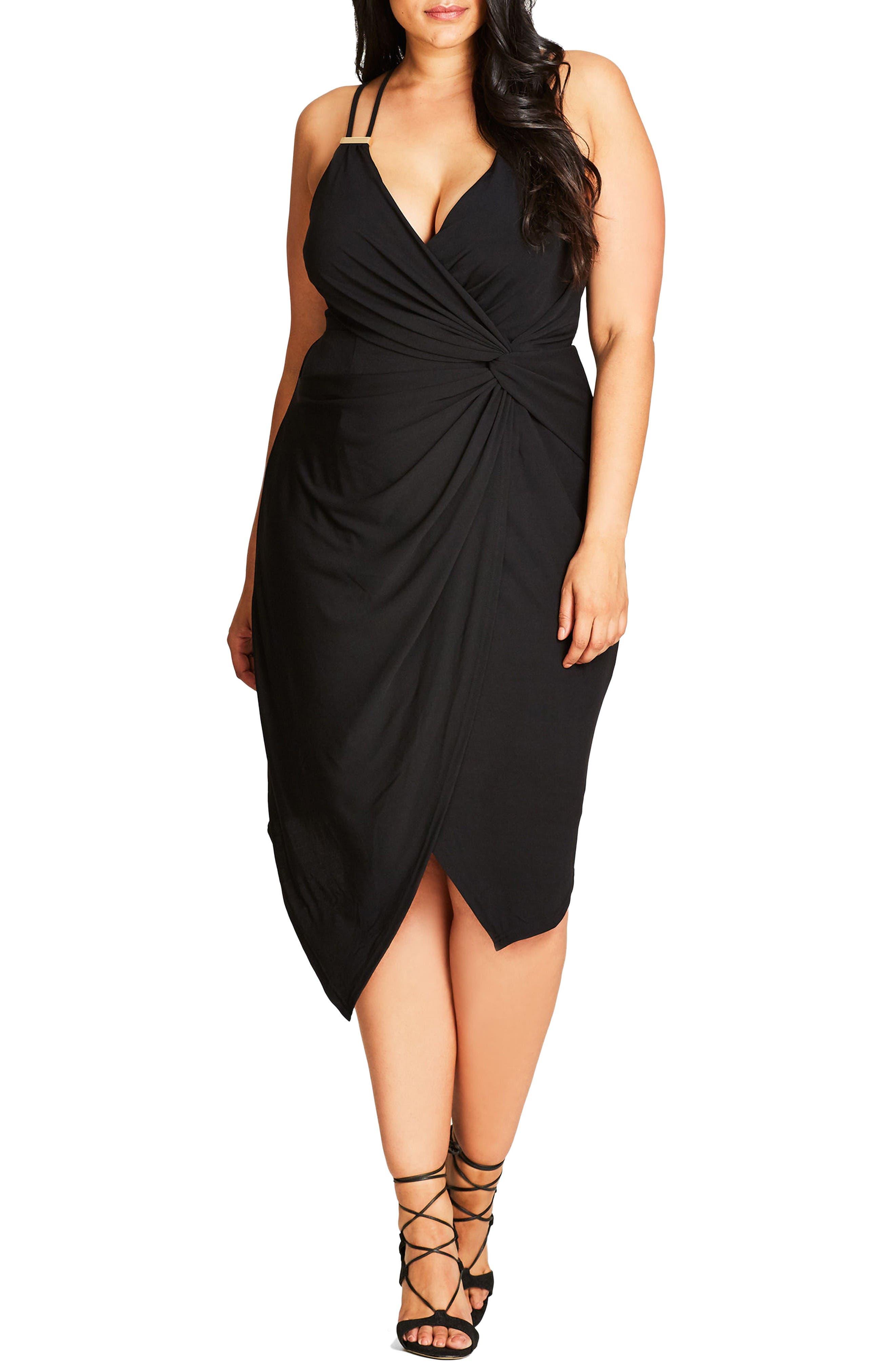 So Seductive Faux Wrap Dress,                             Main thumbnail 1, color,                             Black